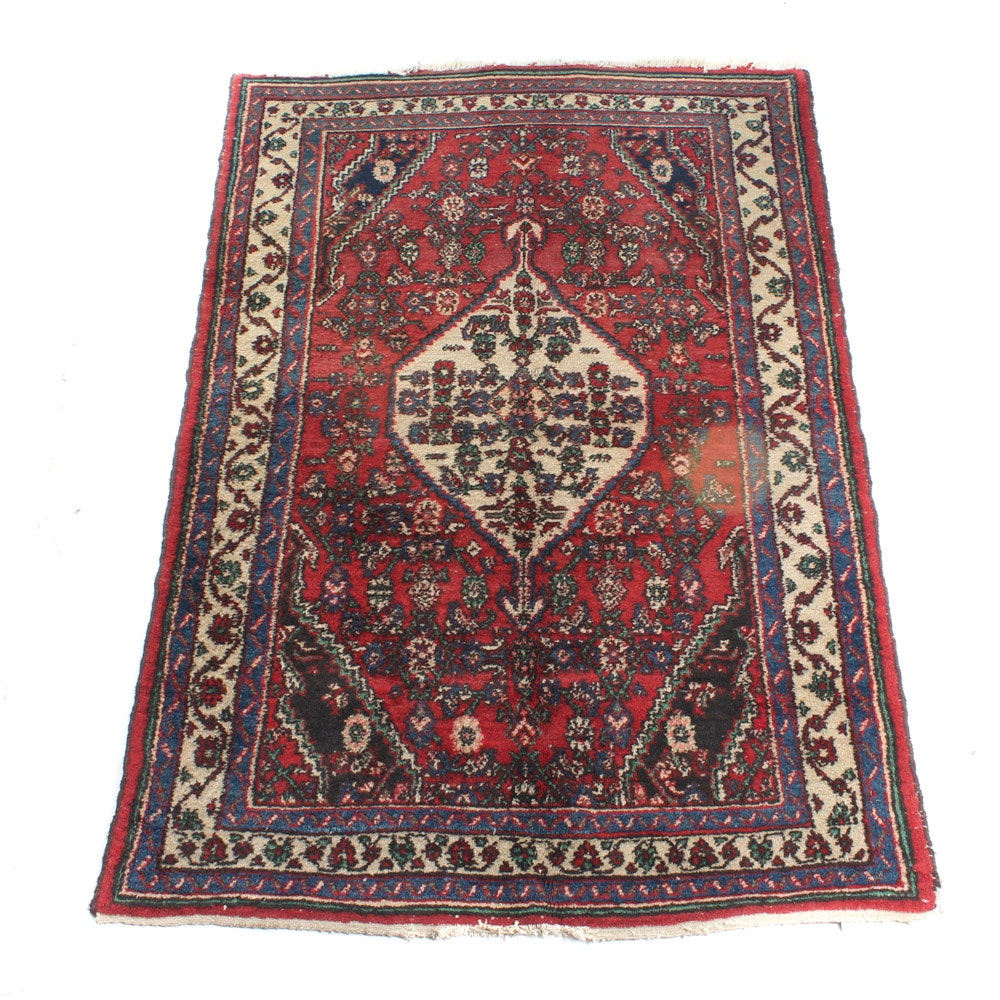 Semi-Antique Hand-Knotted Persian Hamadan Rug