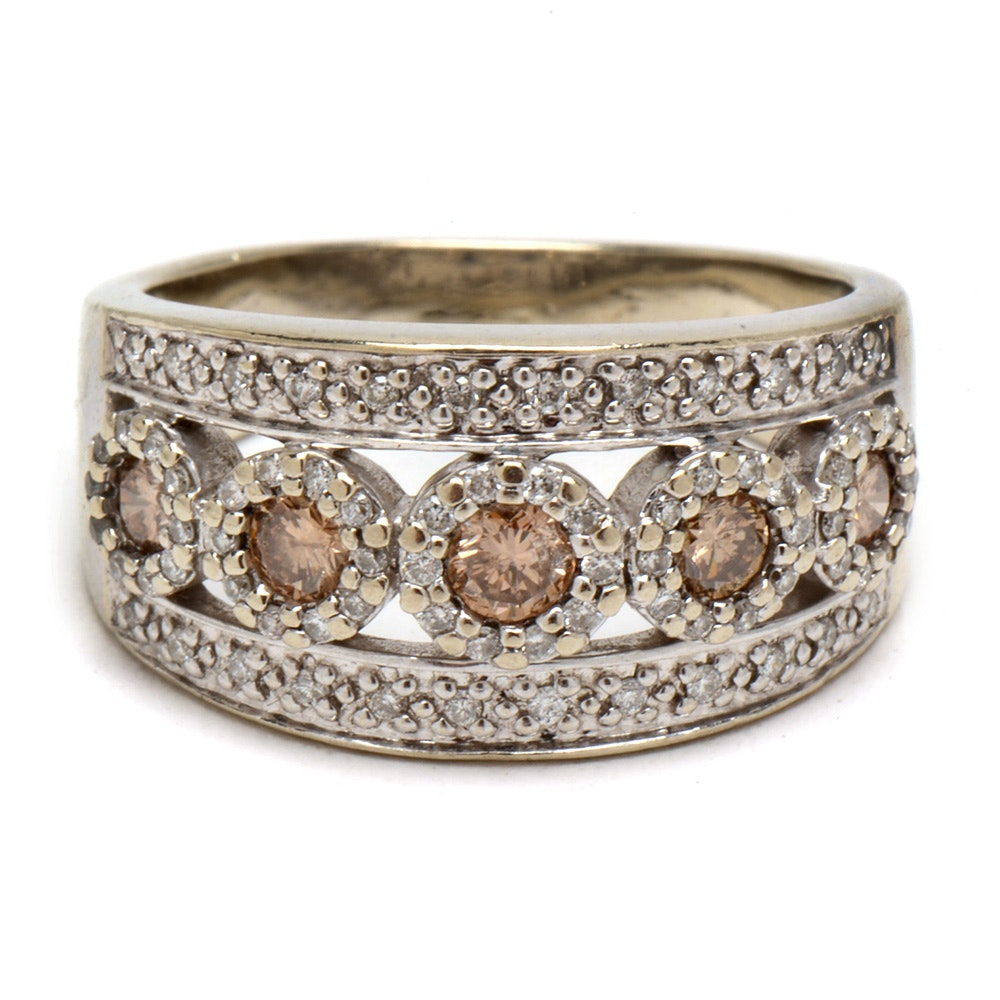 14K White Gold Fancy Light Brown Diamond Band Ring