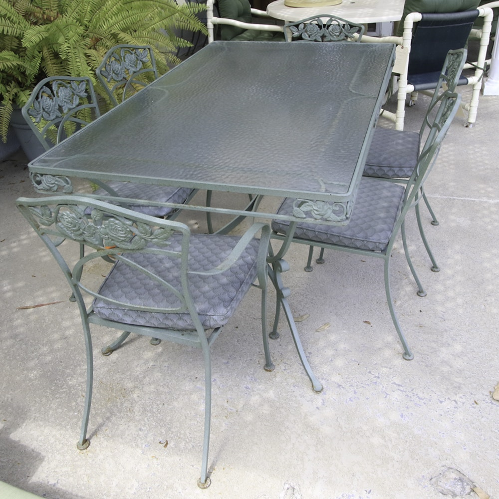 Iron Patio Table and Six Chairs with Speckled Green Finish