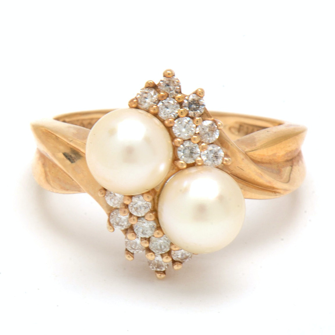 14K Yellow Gold Cultured Pearl Cubic Zirconia Cocktail Ring