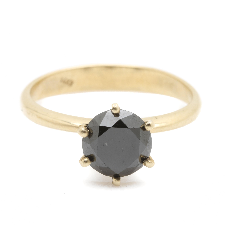 14K Yellow Gold 1.89 CT Black Diamond Solitaire Ring