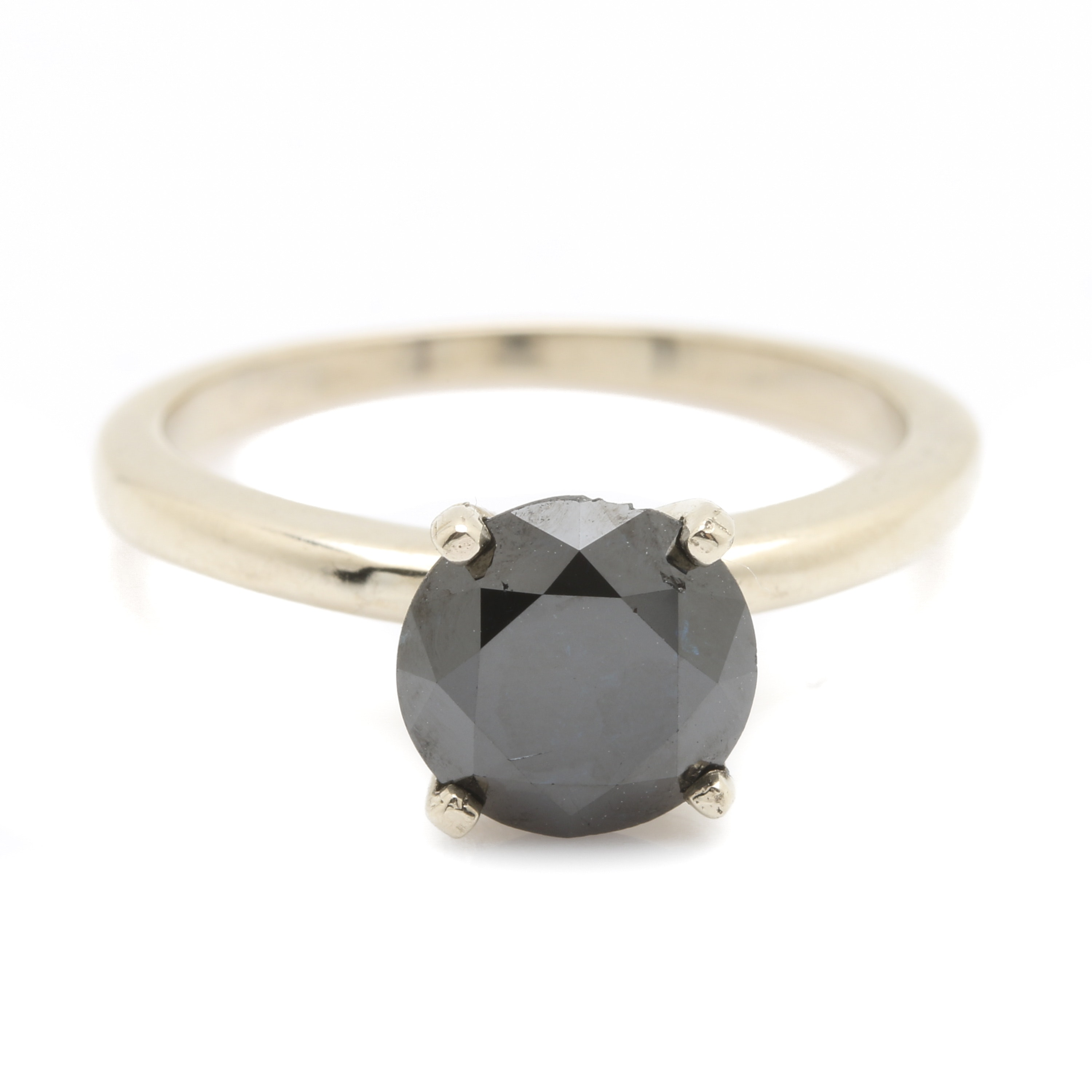 14K White Gold 2.13 CT Blue Diamond Solitaire Ring