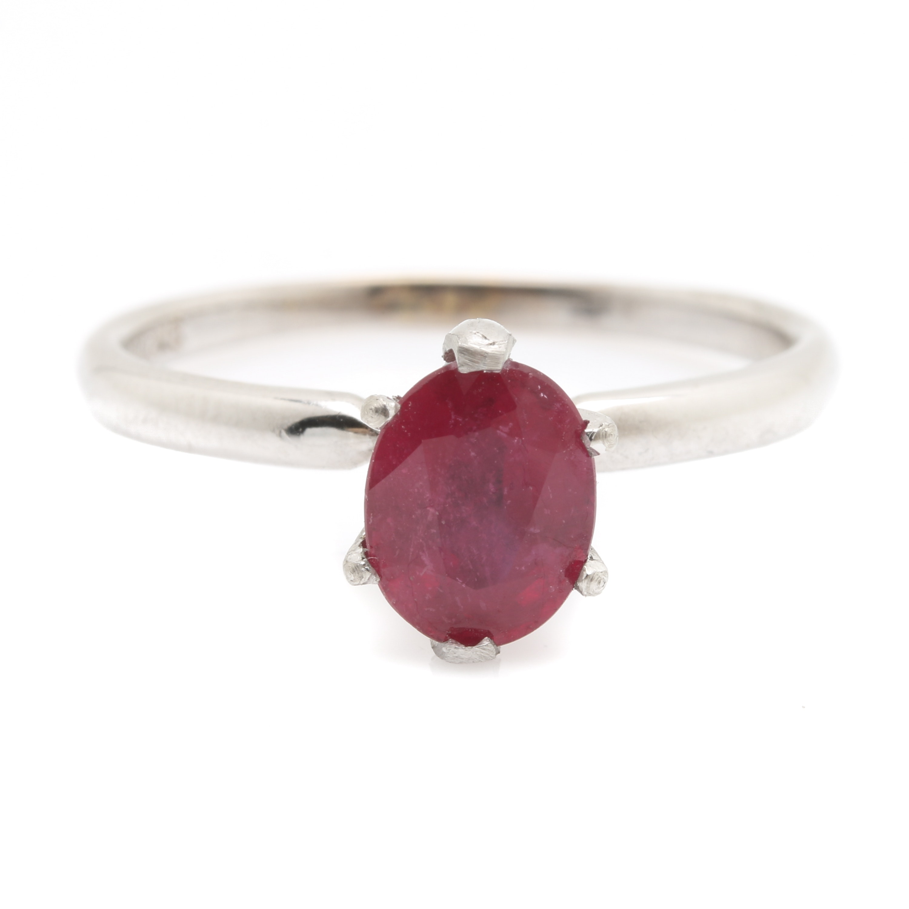 14K White Gold 1.57 CT Ruby Solitaire Ring