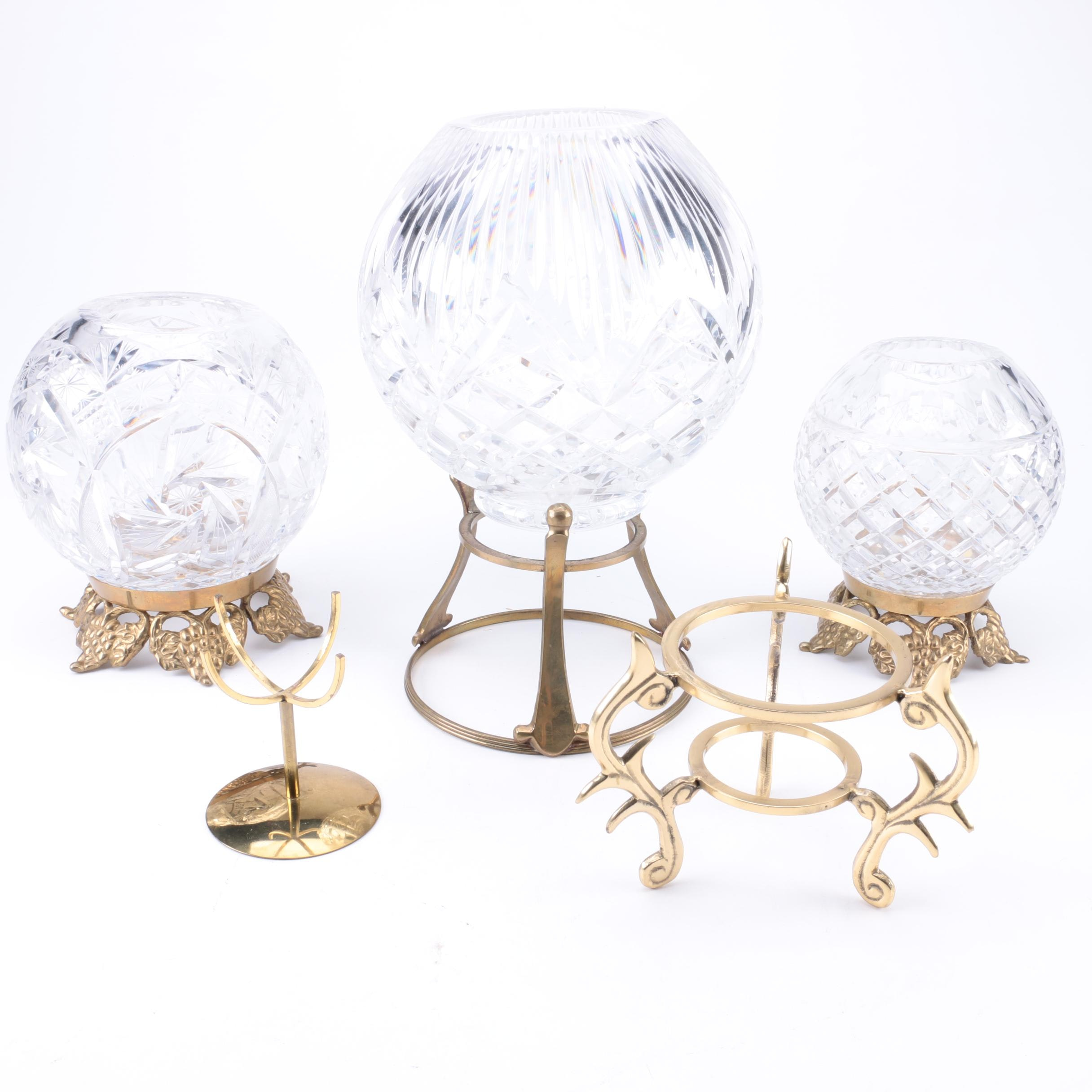 Decorative Cut Crystal Bowls and Brass Stands