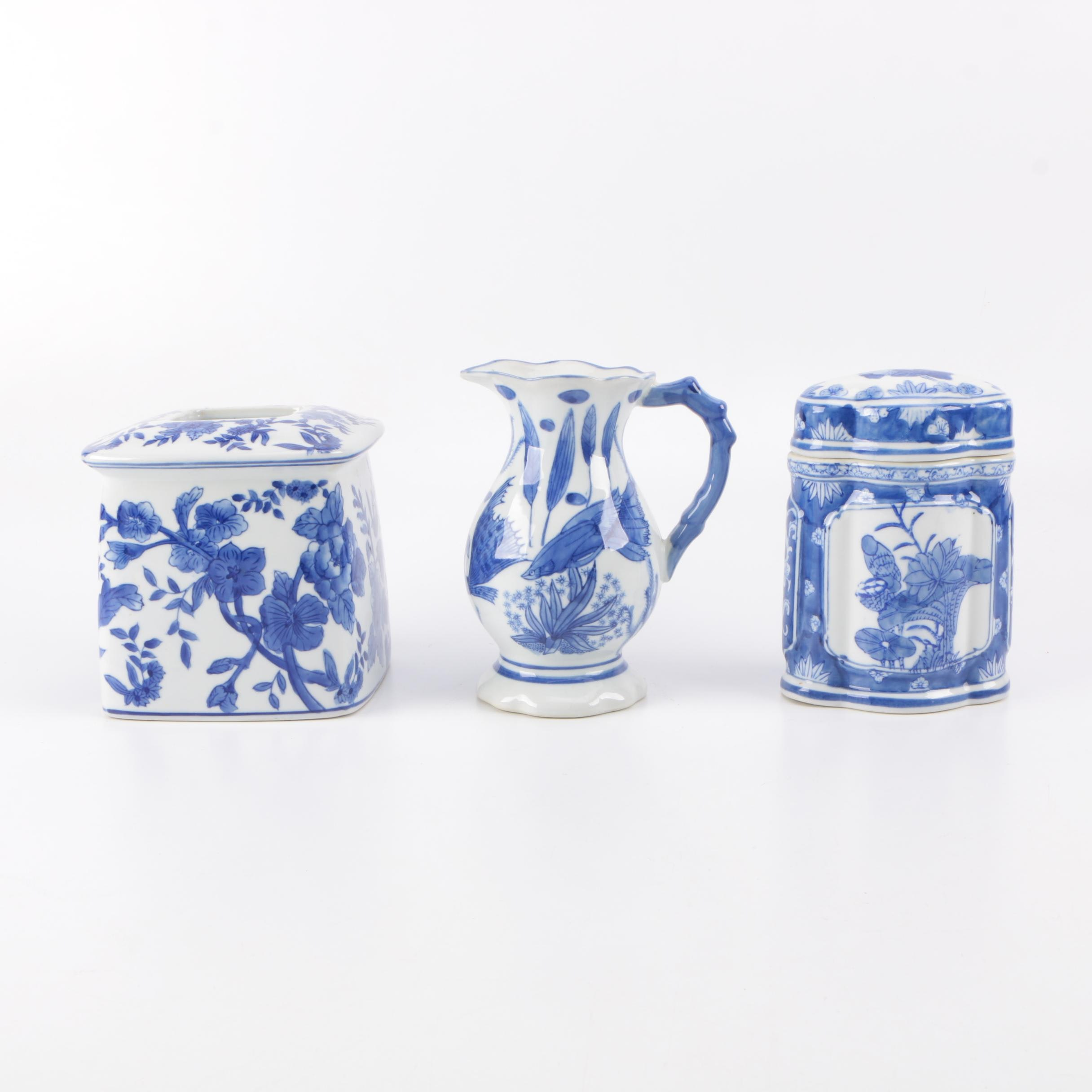 Cobalt on White Chinese Ceramic Home Decor