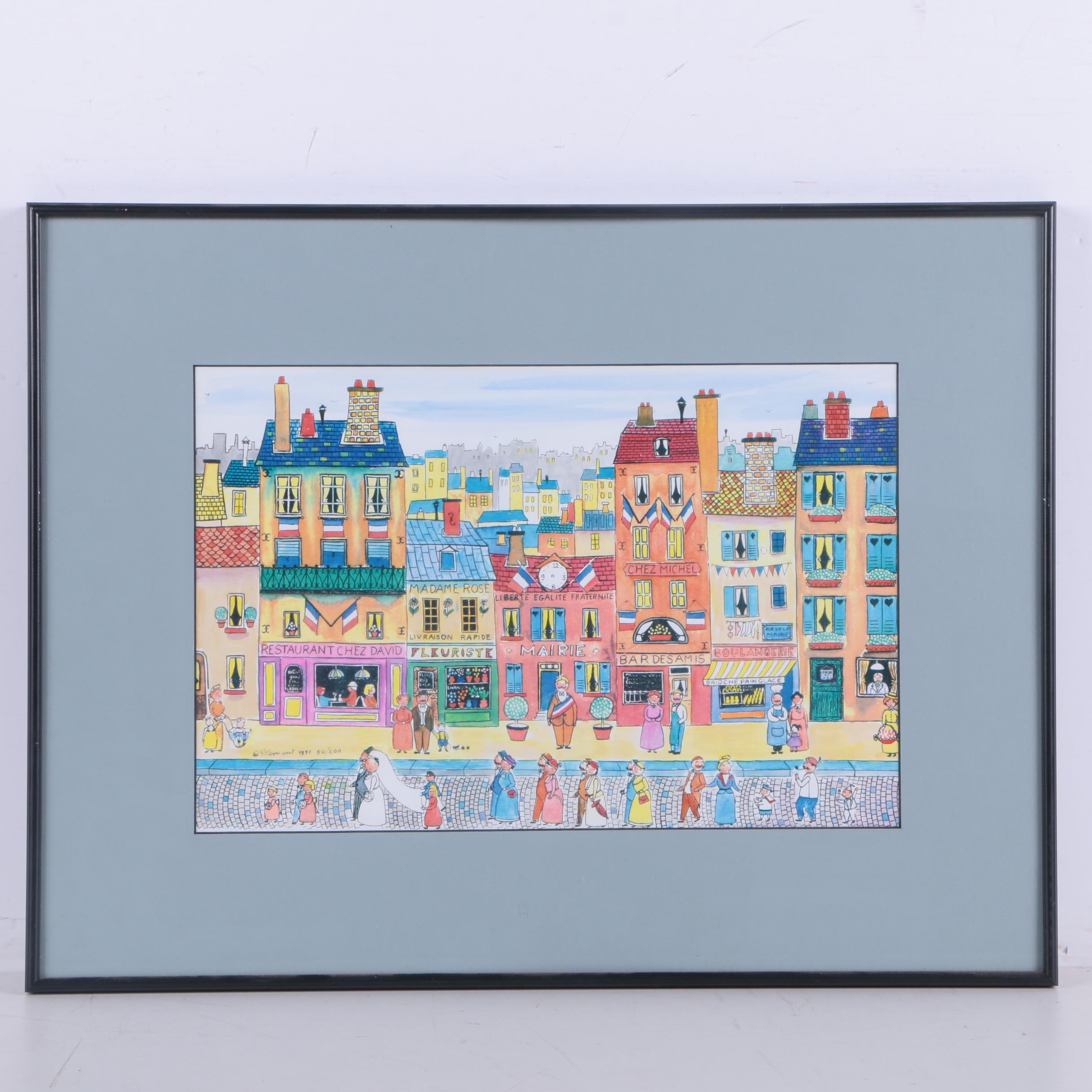 Limited Edition Giclee After Yvon Jeannot of Wedding in Paris Street