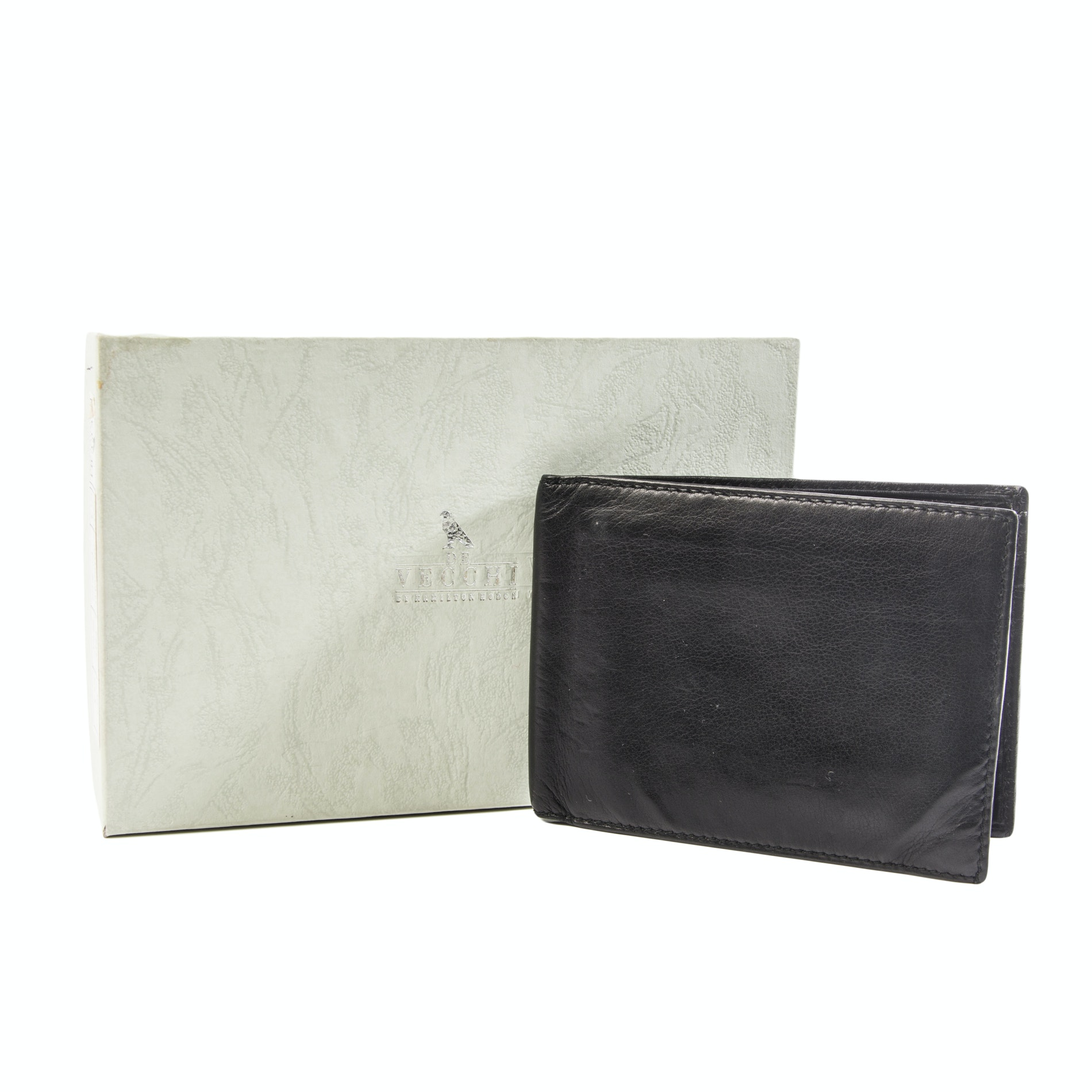 De Vecchi Black Leather Bi-Fold Wallet