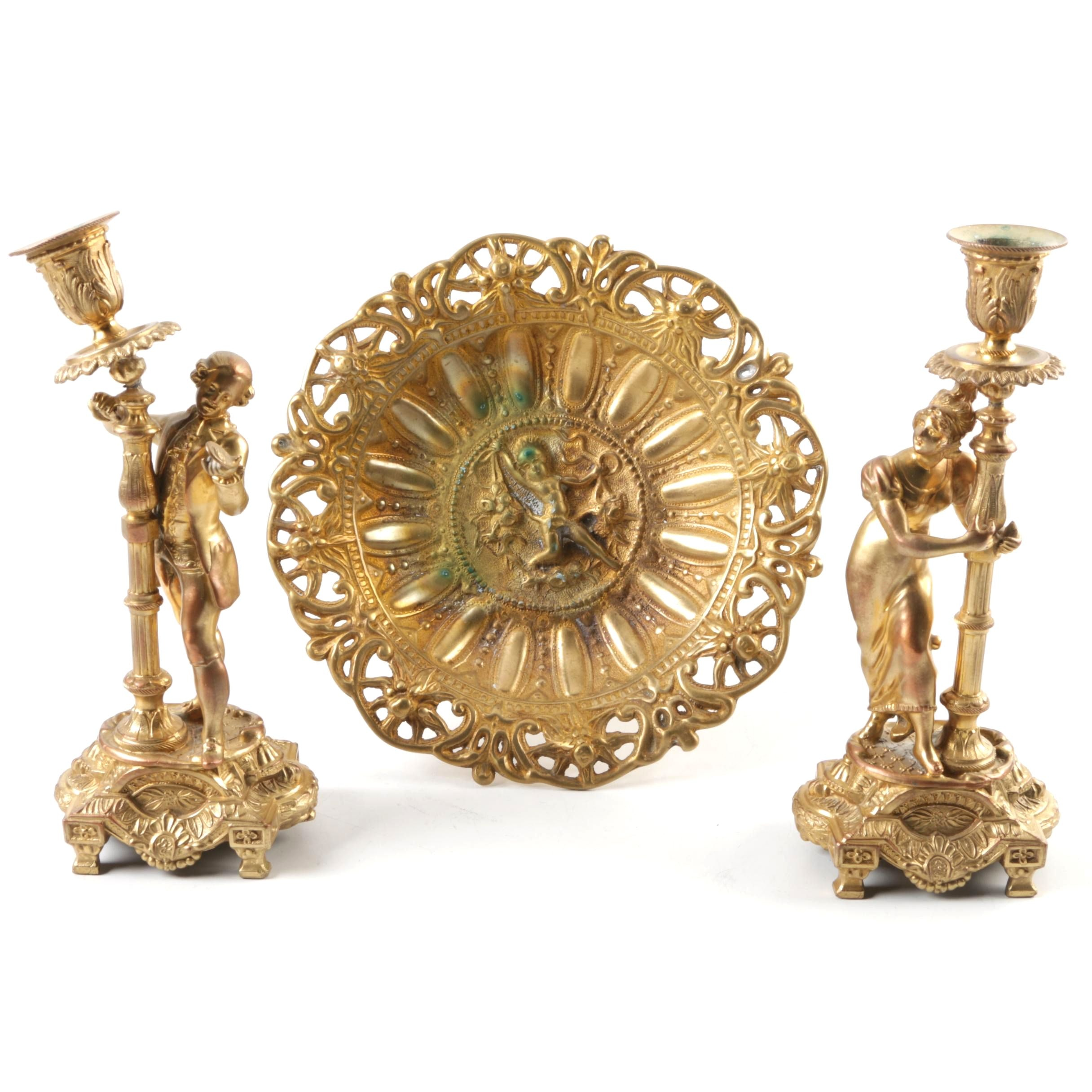 Brass Figural Candlestick Holders and Tray