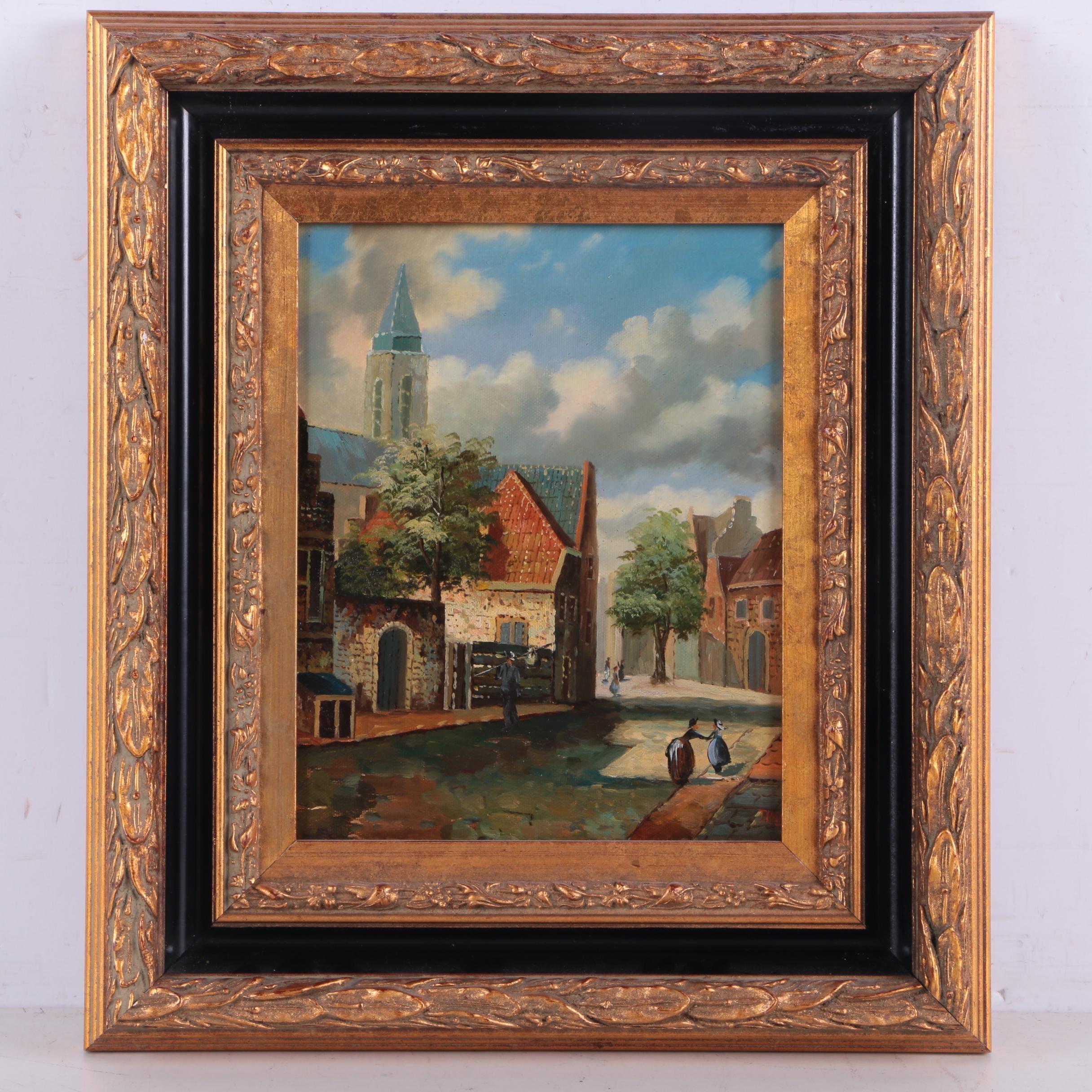 Thomas Oil Painting on Canvas of Village Scene