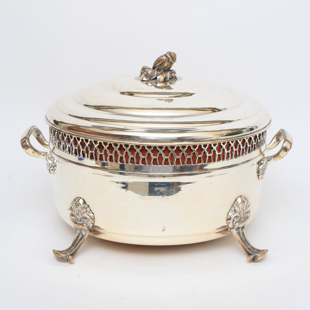 Covered Silver-Plate Dish With Ceramic Insert