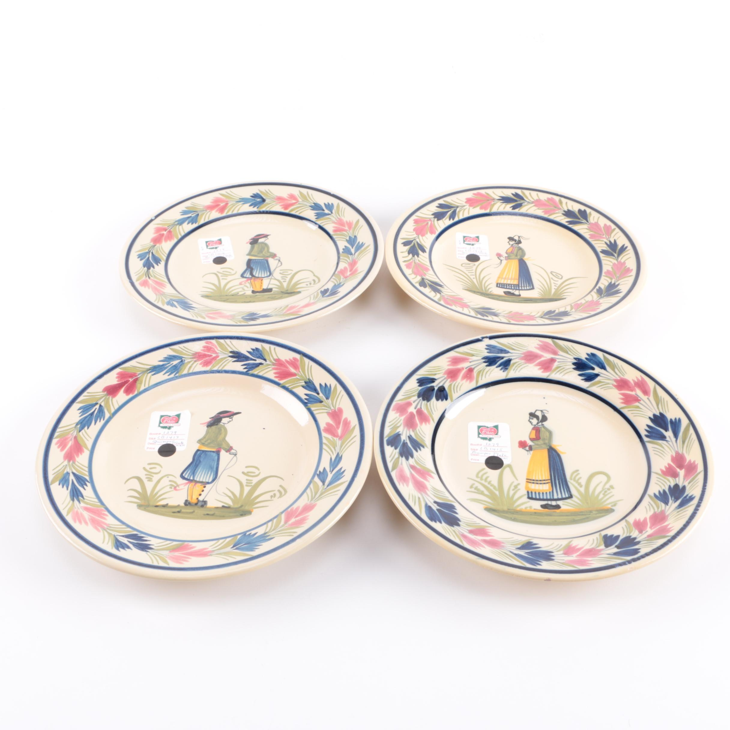 Quimper French Hand-Painted Ceramic Salad Plates