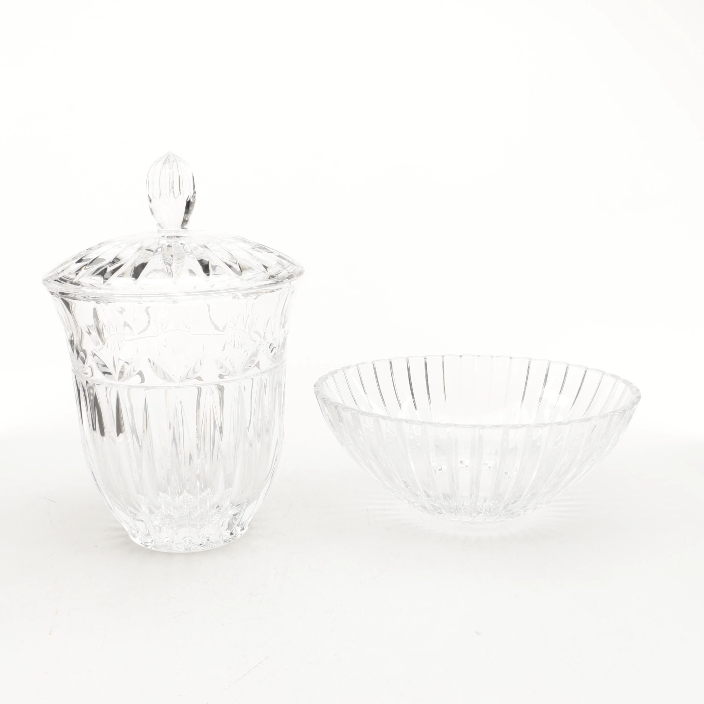 Lidded Crystal Container and Bowl