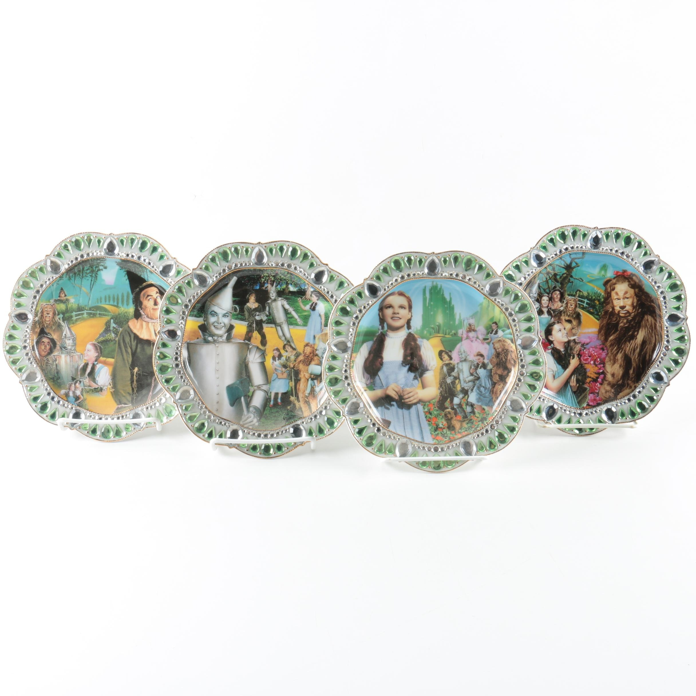 Limited Edition Bradford Exchange Porcelain and Rhinestone Wizard of Oz Plates
