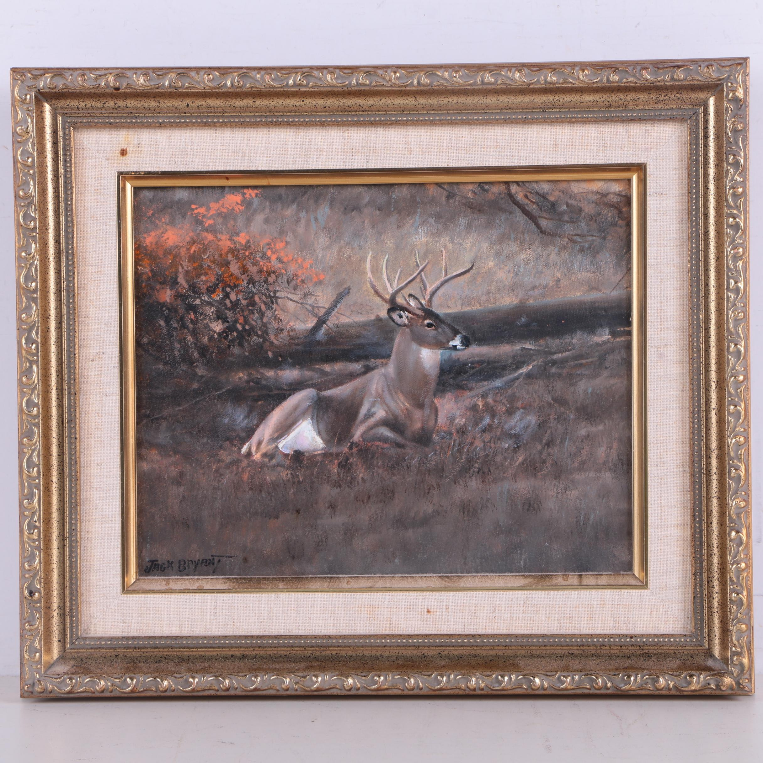 Jack Bryant Acrylic on Canvas of Stag at Rest.