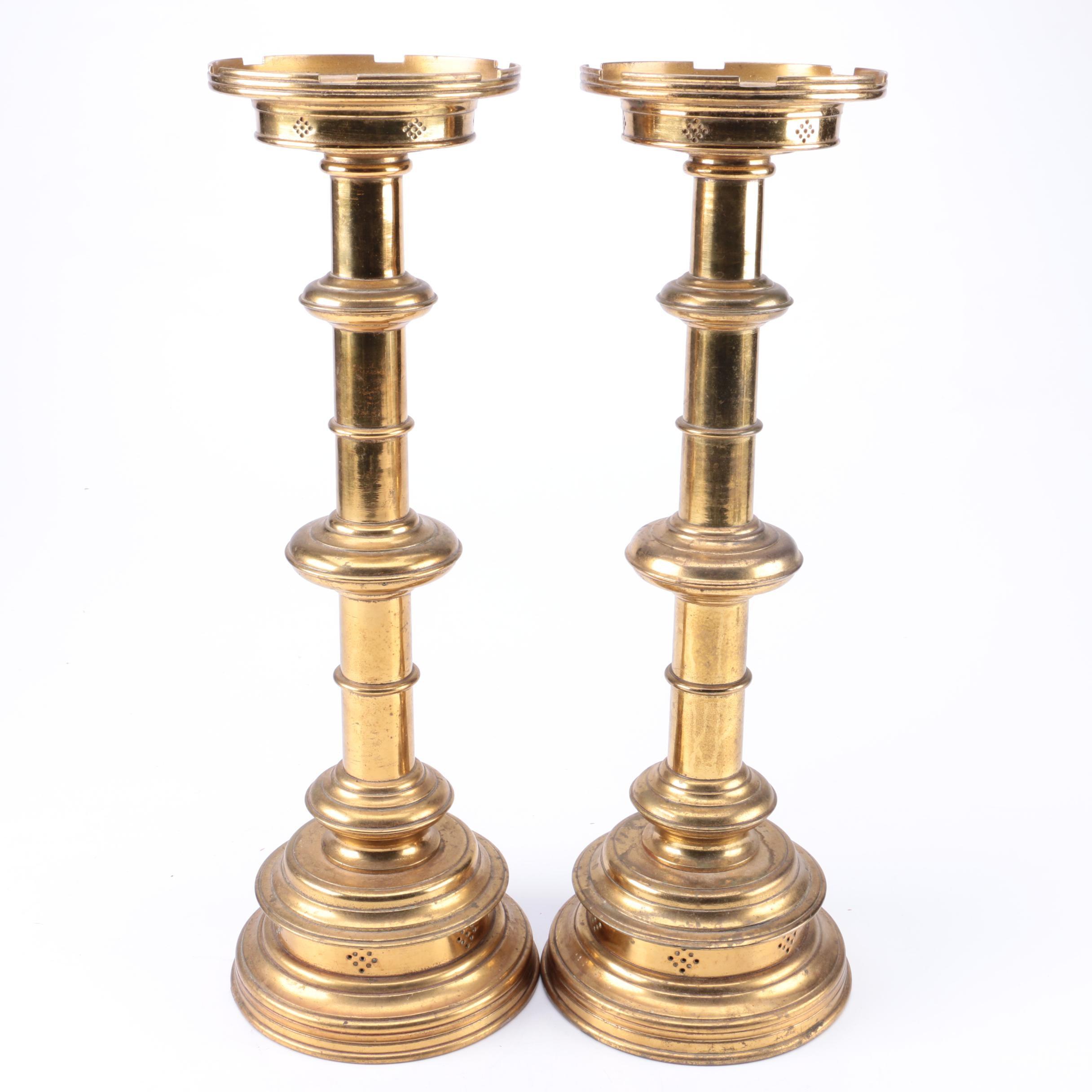Mid Century Brass Candleholders