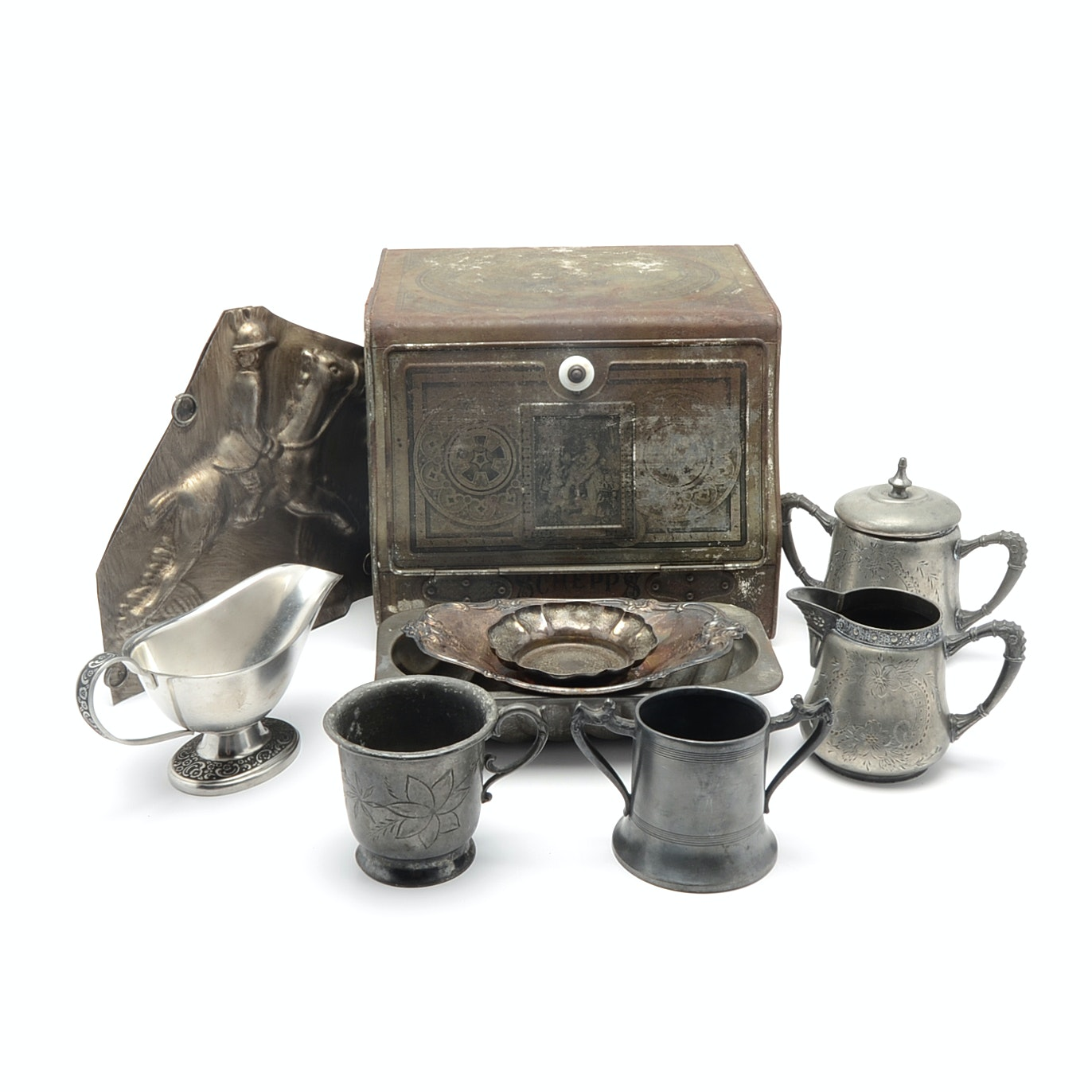 Collection of Vintage Metalware Including a Schepps Cake Box