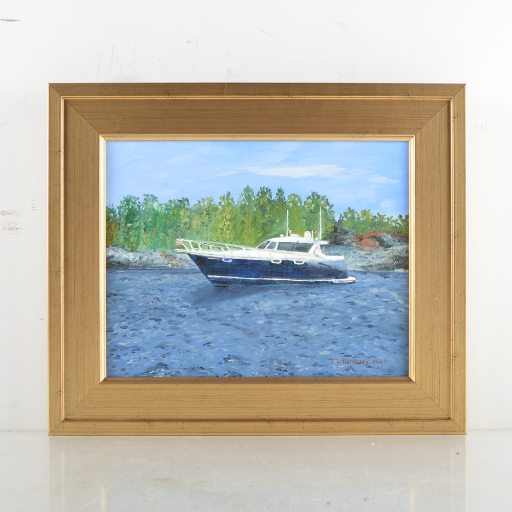 M. Hardesty Oil Painting on Canvas of Boat Scene