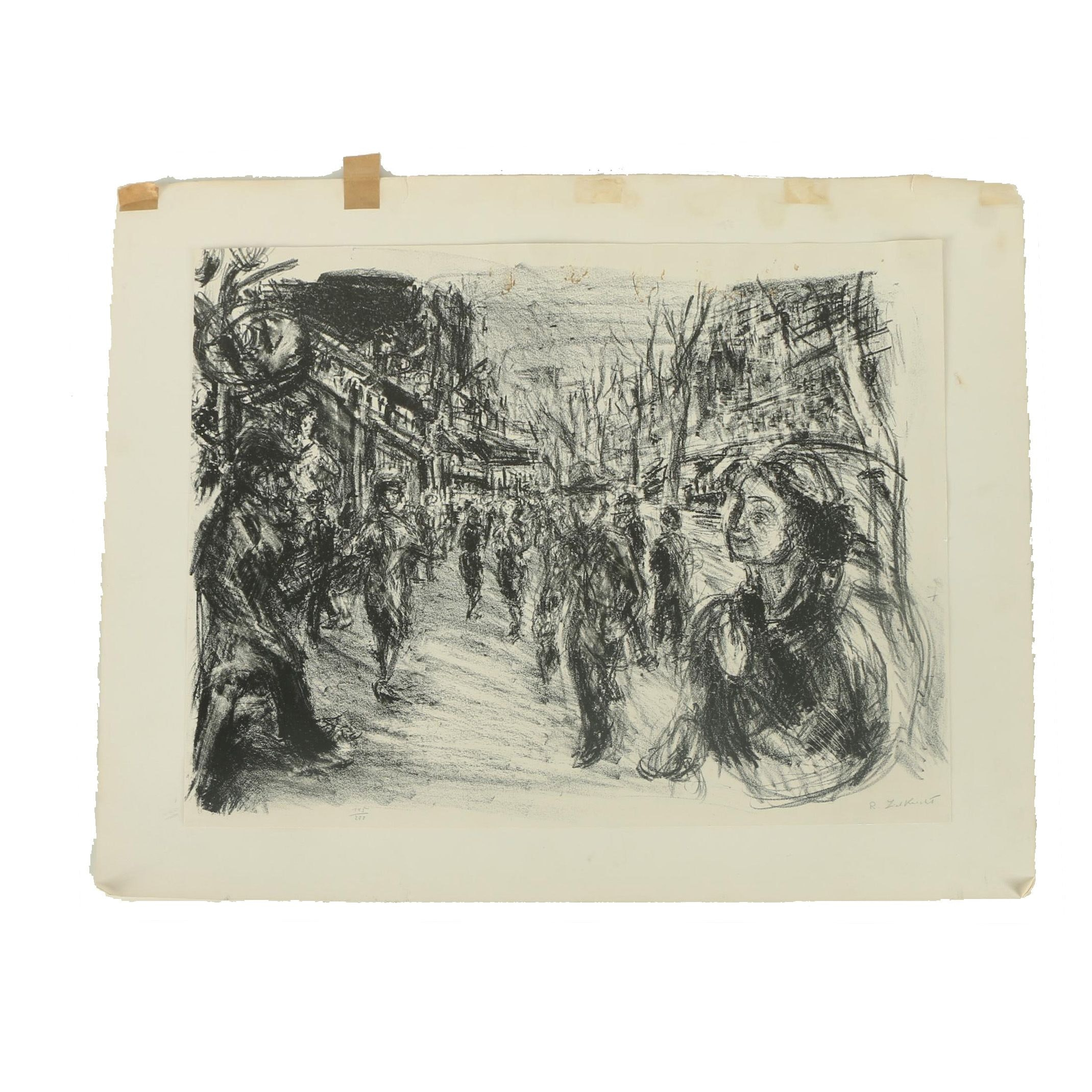 Limited Edition Lithograph on Paper of Town Scene