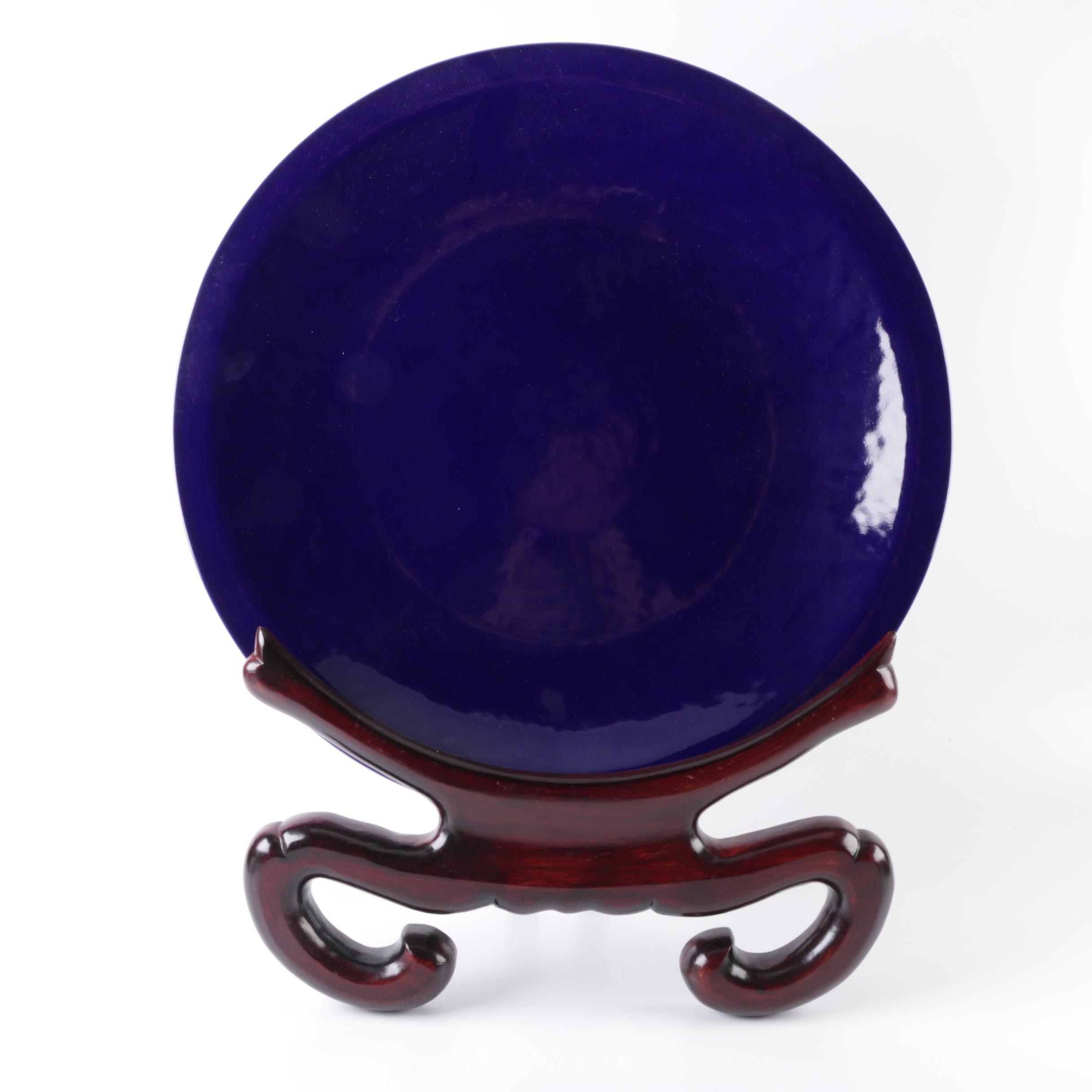 Large Blue Decorative Ceramic Plate and Stand