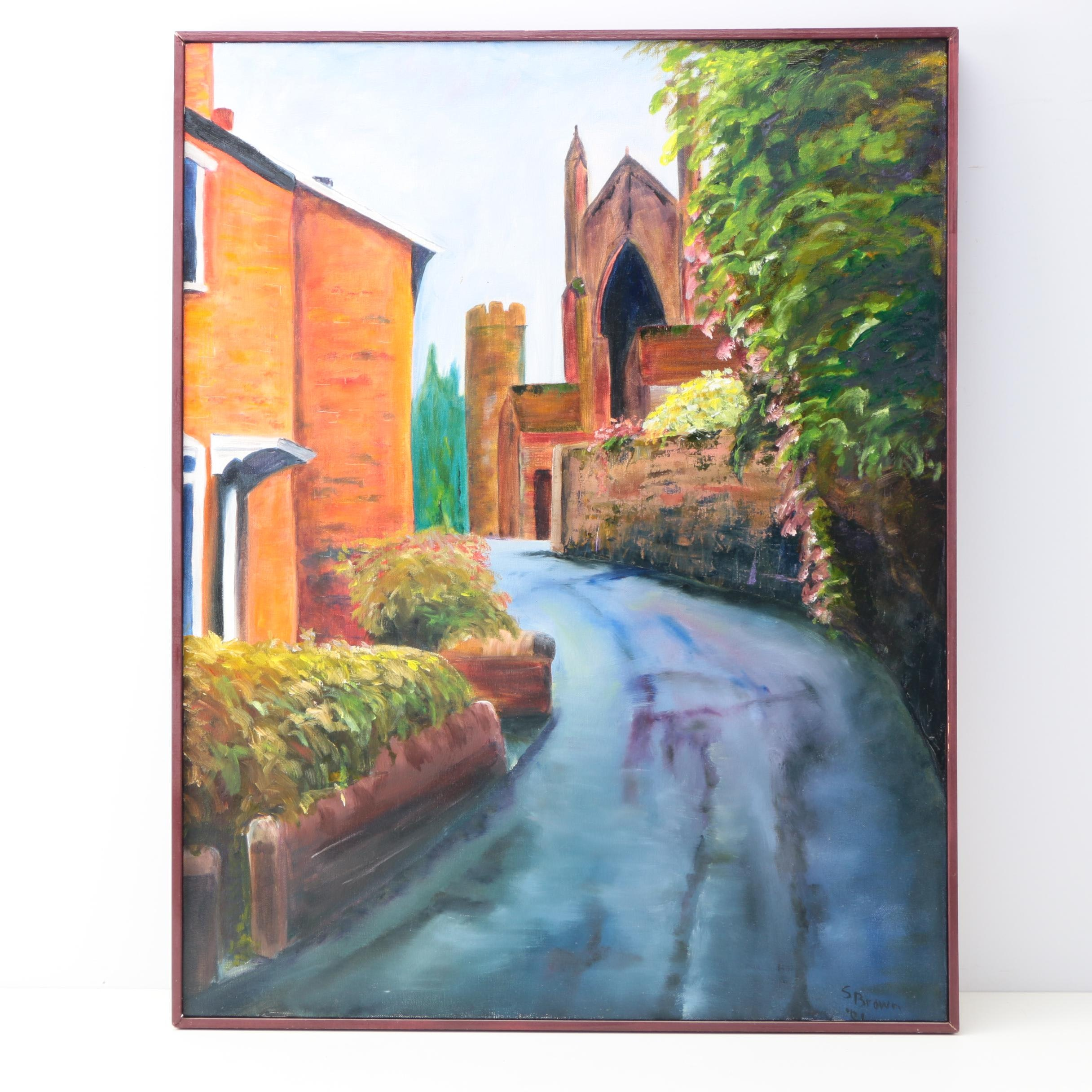"""Susan Brown Oil Painting on Canvas """"Hereford Cathedral"""""""