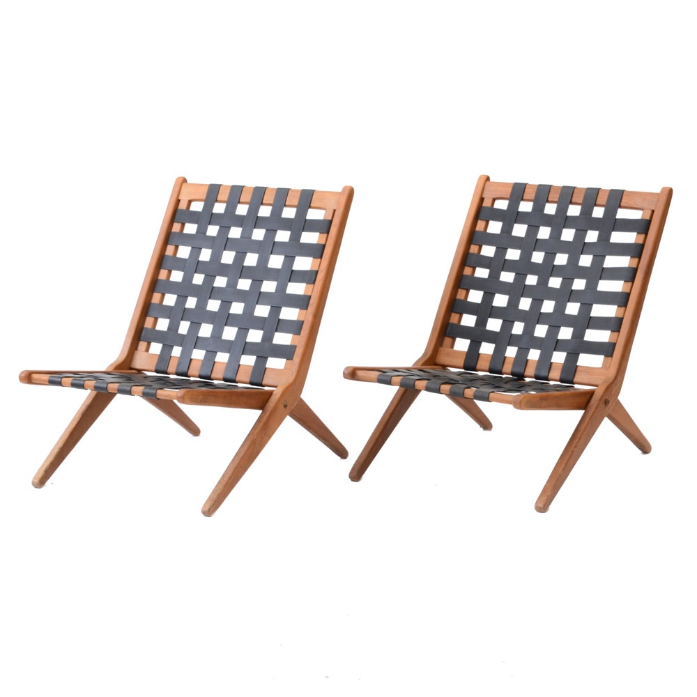 Pair of Mid Century Modern Folding Chair Frames