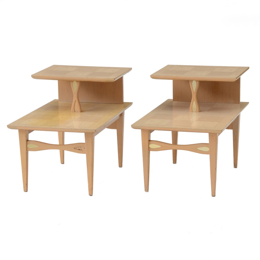 Pair Of Mid Century Modern Blonde Wood End Tables By Lane