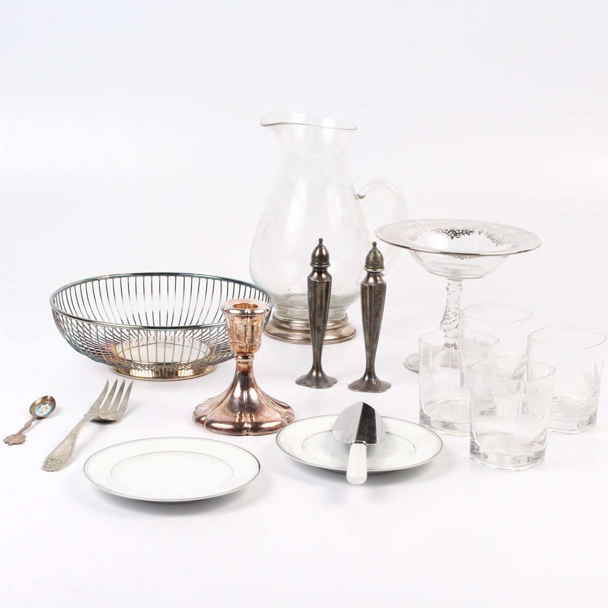 Glass and Silver Plate Tabletop Collection