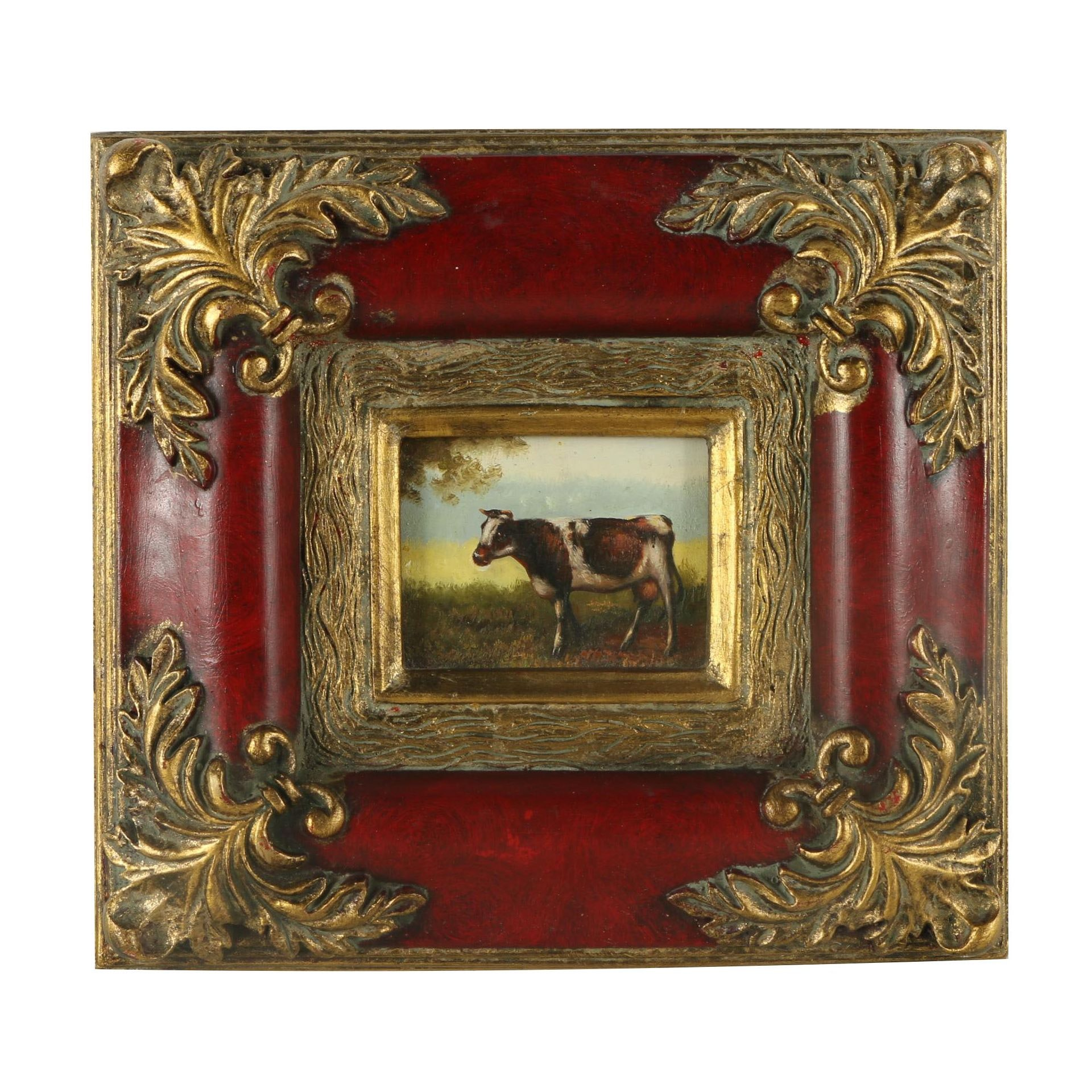Oil on Panel of Cow in Elaborate Frame