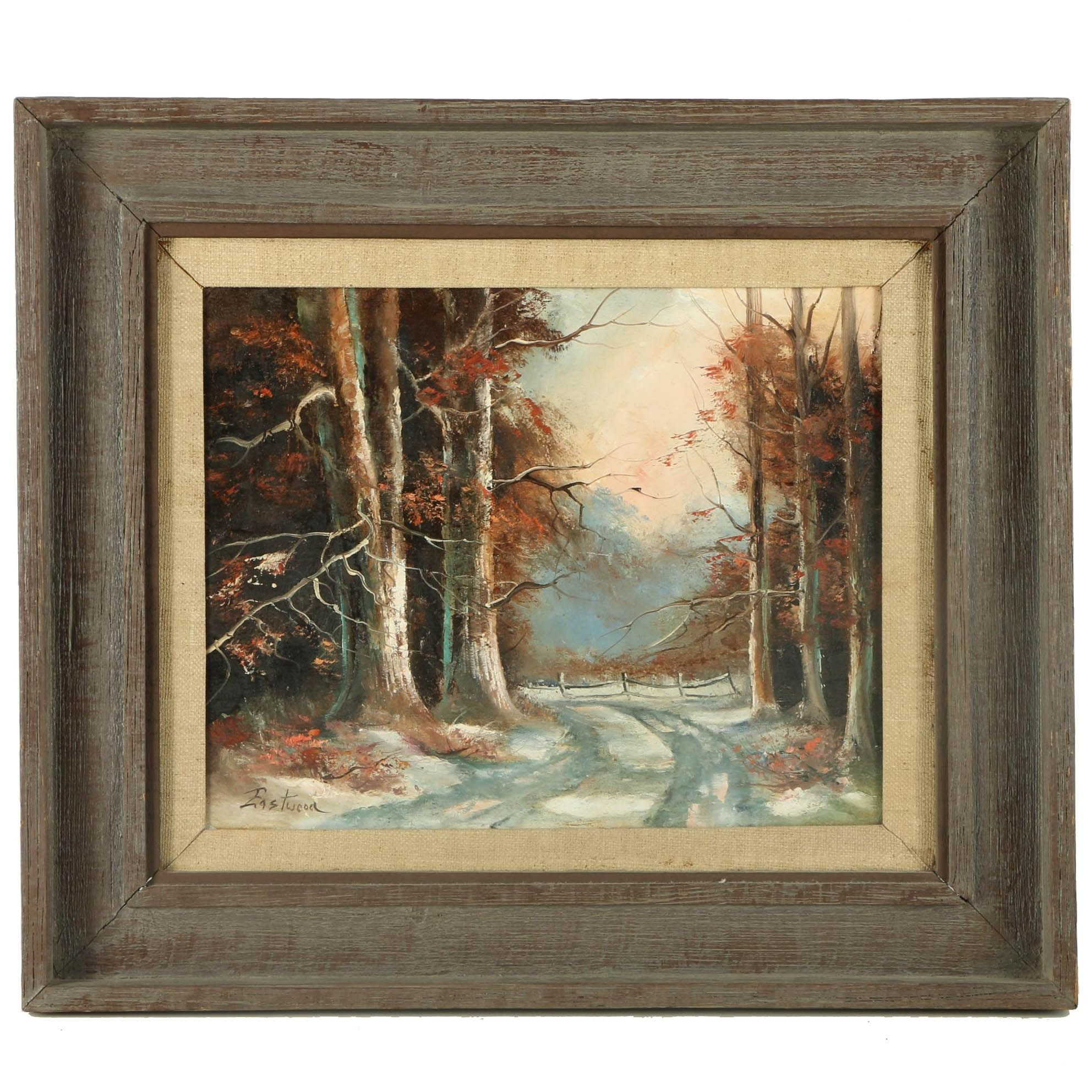 Eastwood Oil Painting on Canvas of a Wintry Wooded Landscape
