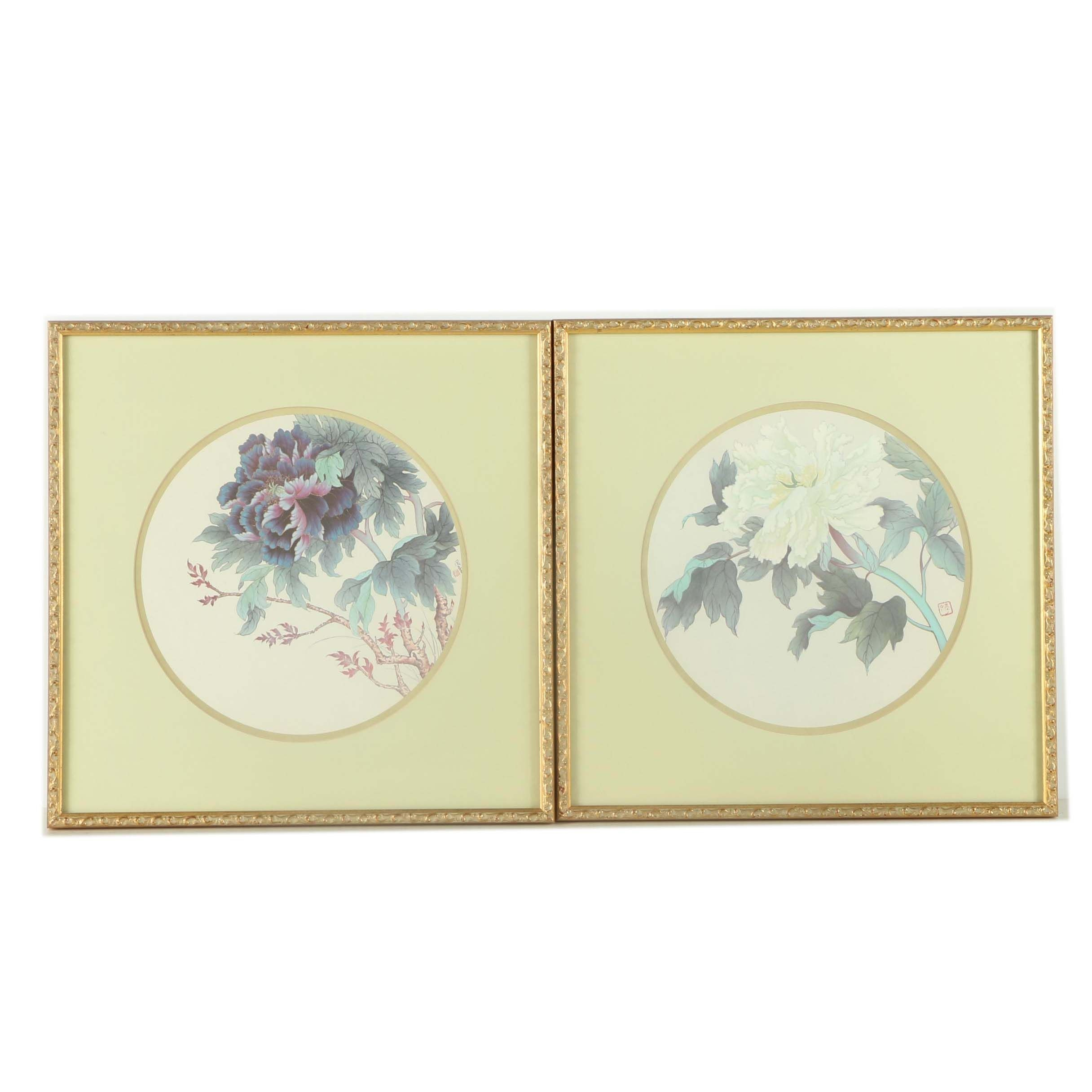 Offset Lithograph Prints After East Asian Floral Paintings