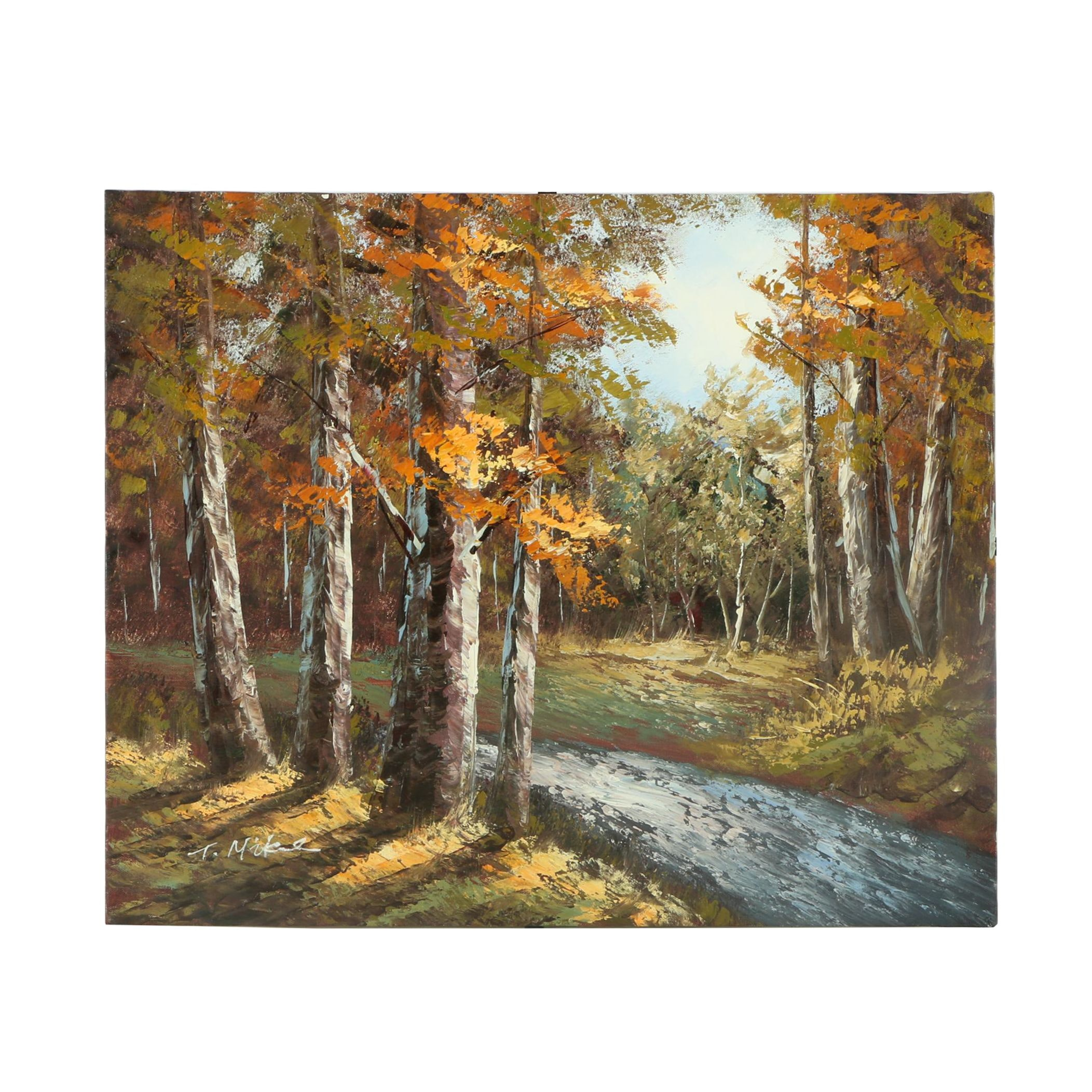 T. Mike Oil Painting on Canvas of a Wooded Landscape