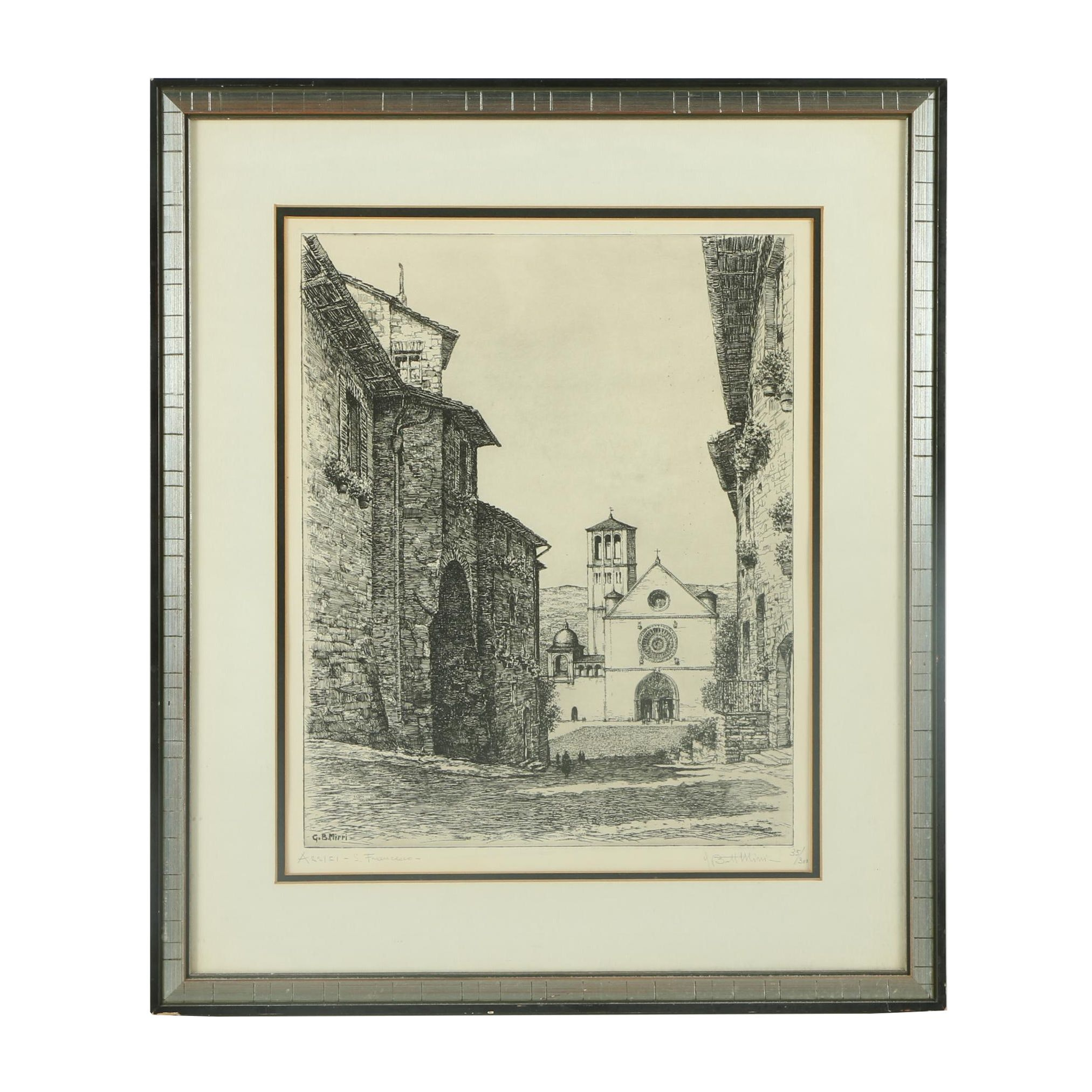 "G. B. Mirri Limited Edition Etching ""Assisi, San Francisco"""