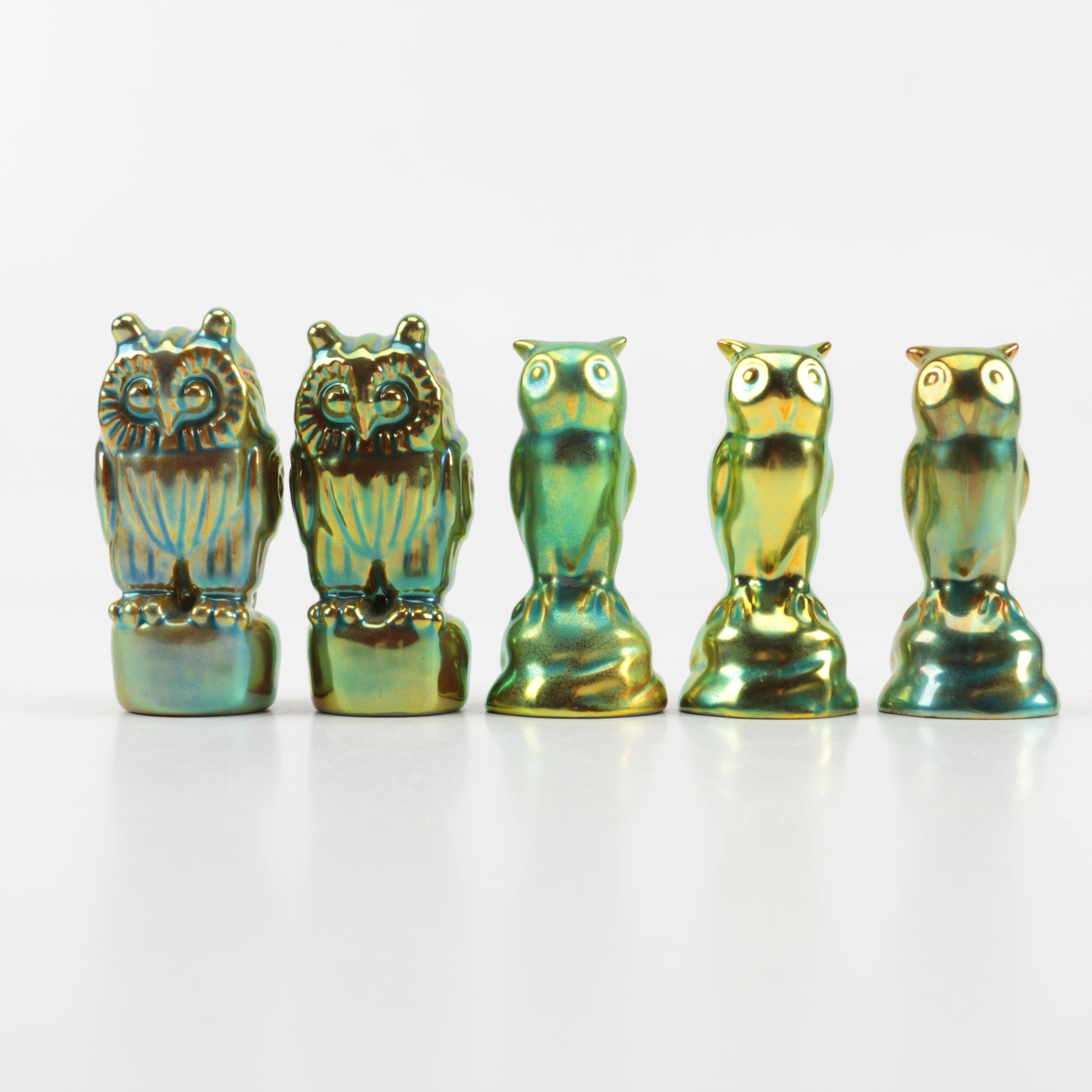 Vintage Zsolnay Pottery Ceramic Owl Figurines