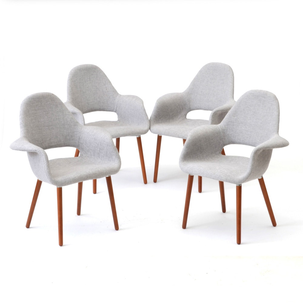 Set of Four Poly & Bark Chairs in Gray
