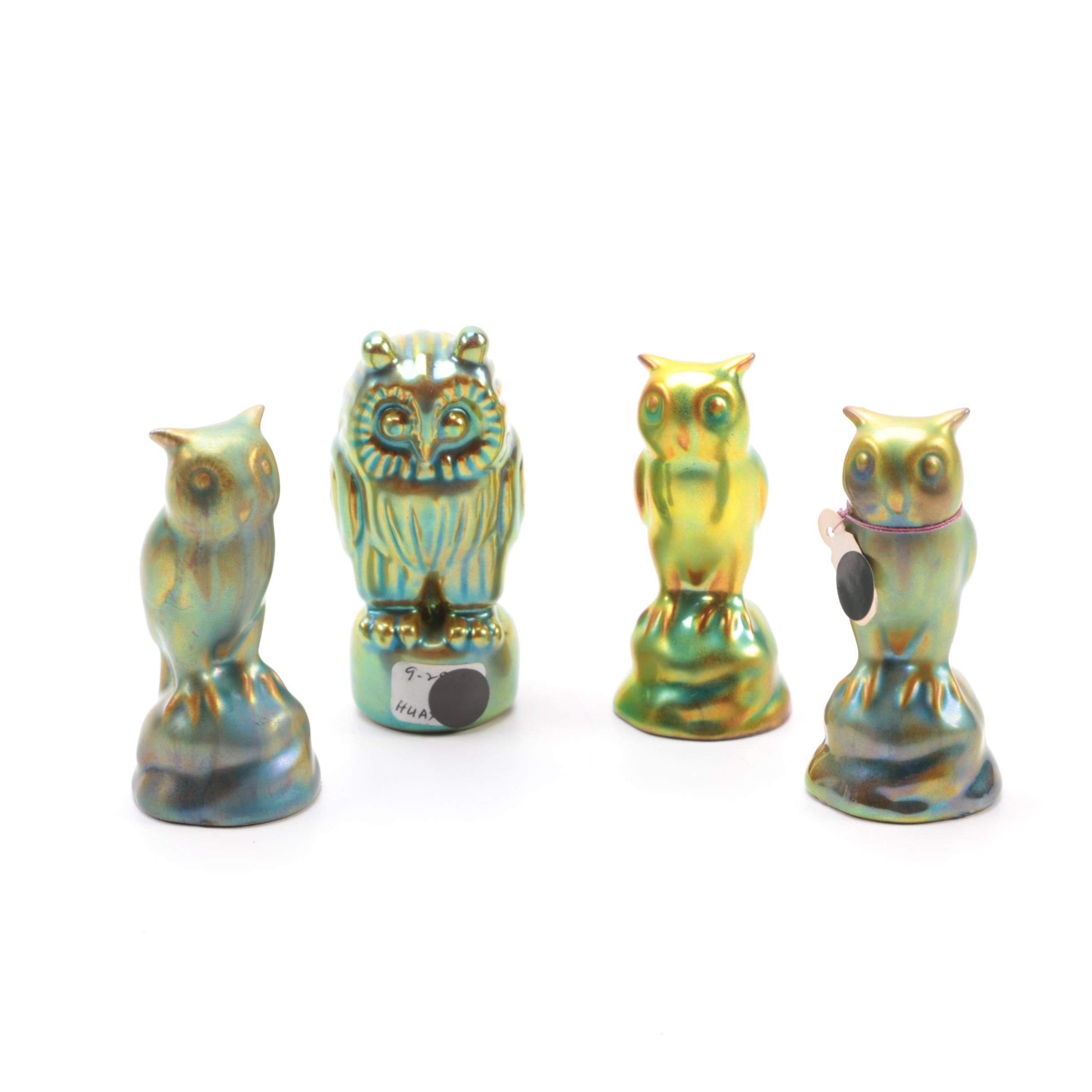 Collection of Zsolnay Pottery Ceramic Owl Figurines