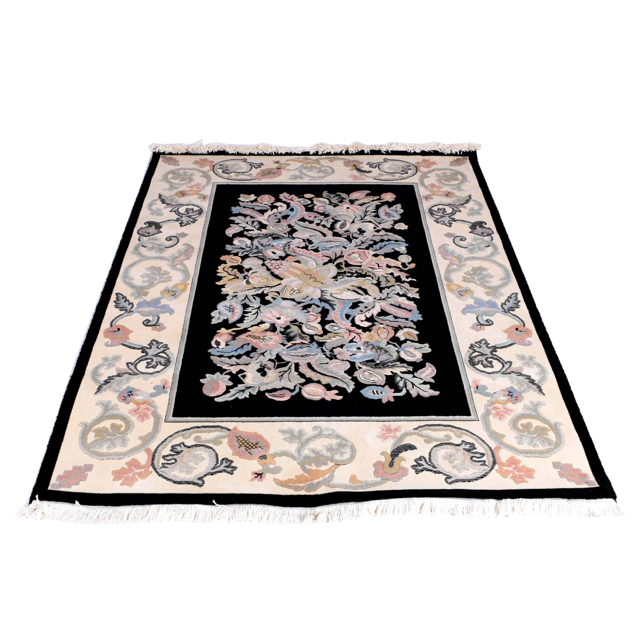 Power Loomed Contemporary Floral Wool Area Rug