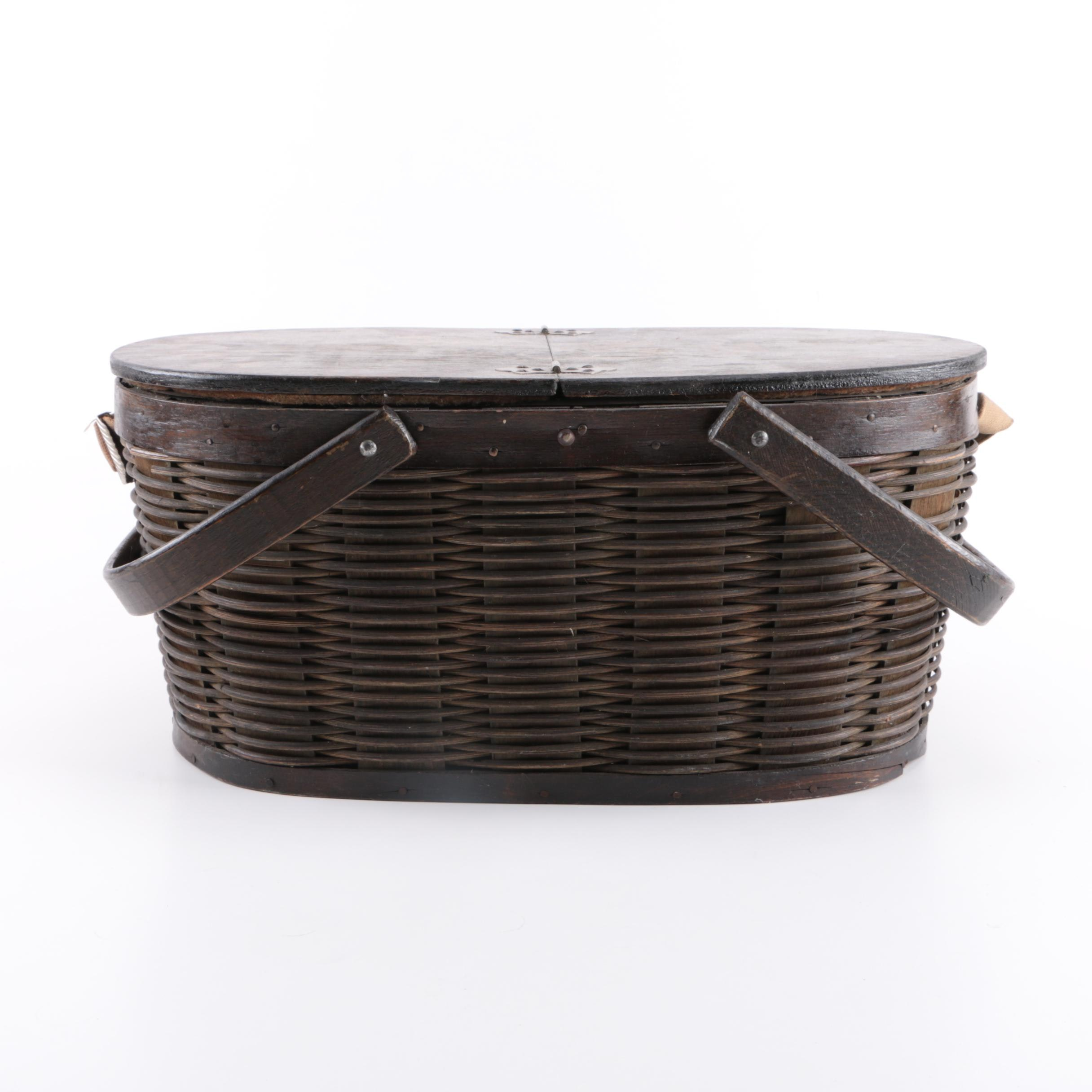 Antique Hawkeye Insulated Picnic Basket