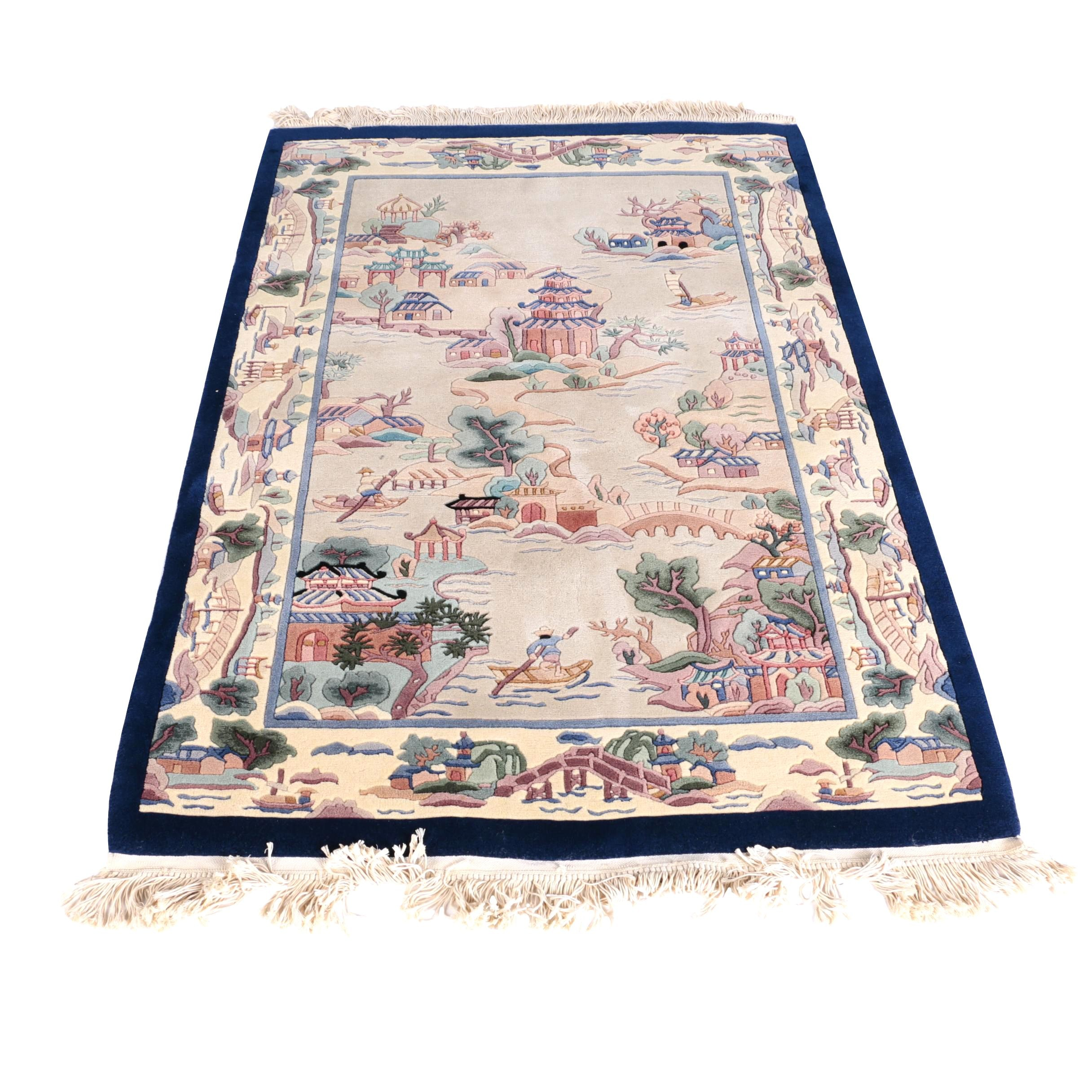 Hand-Knotted Carved Chinese Pictorial Wool Area Rug
