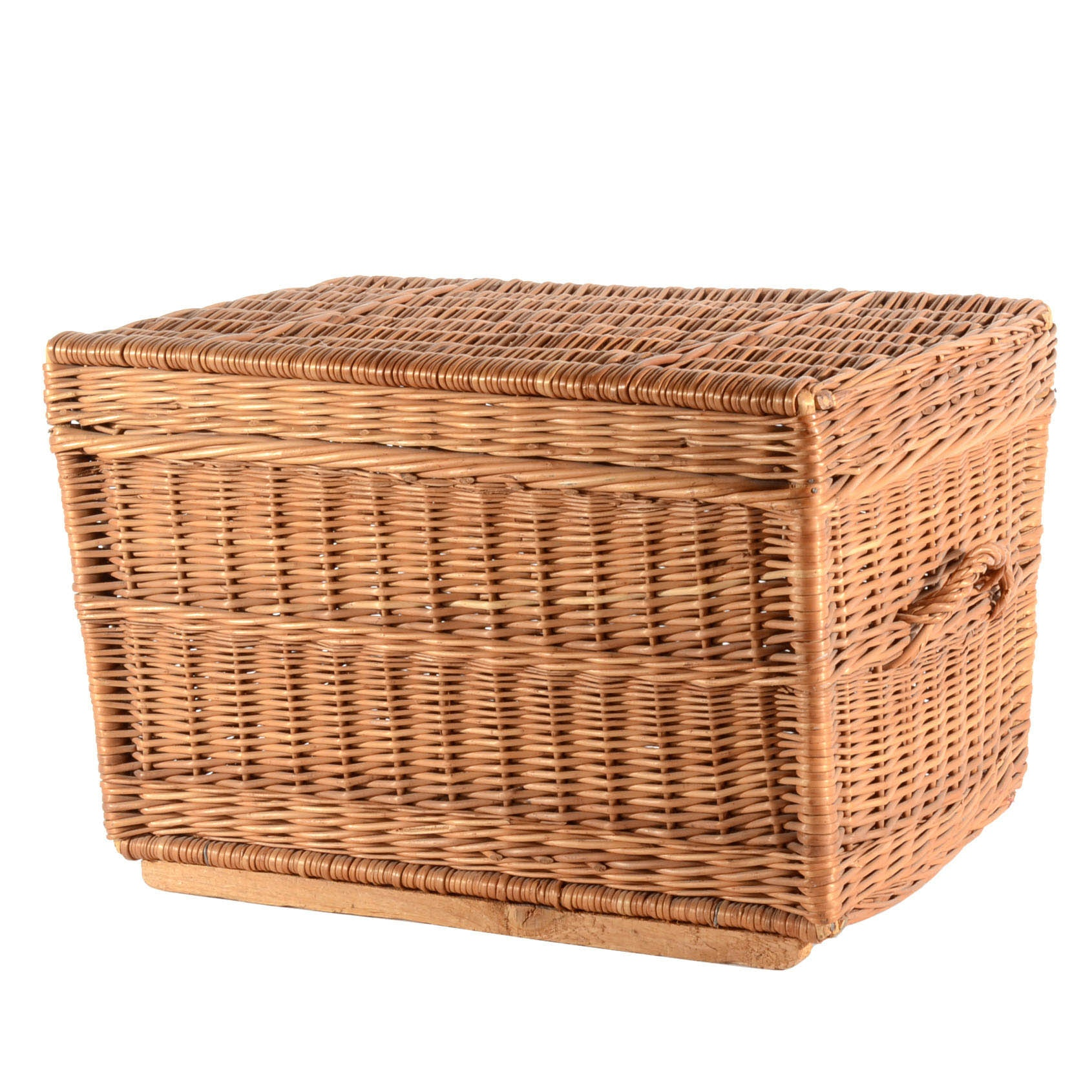 Woven Hinged-Lid Rattan Trunk