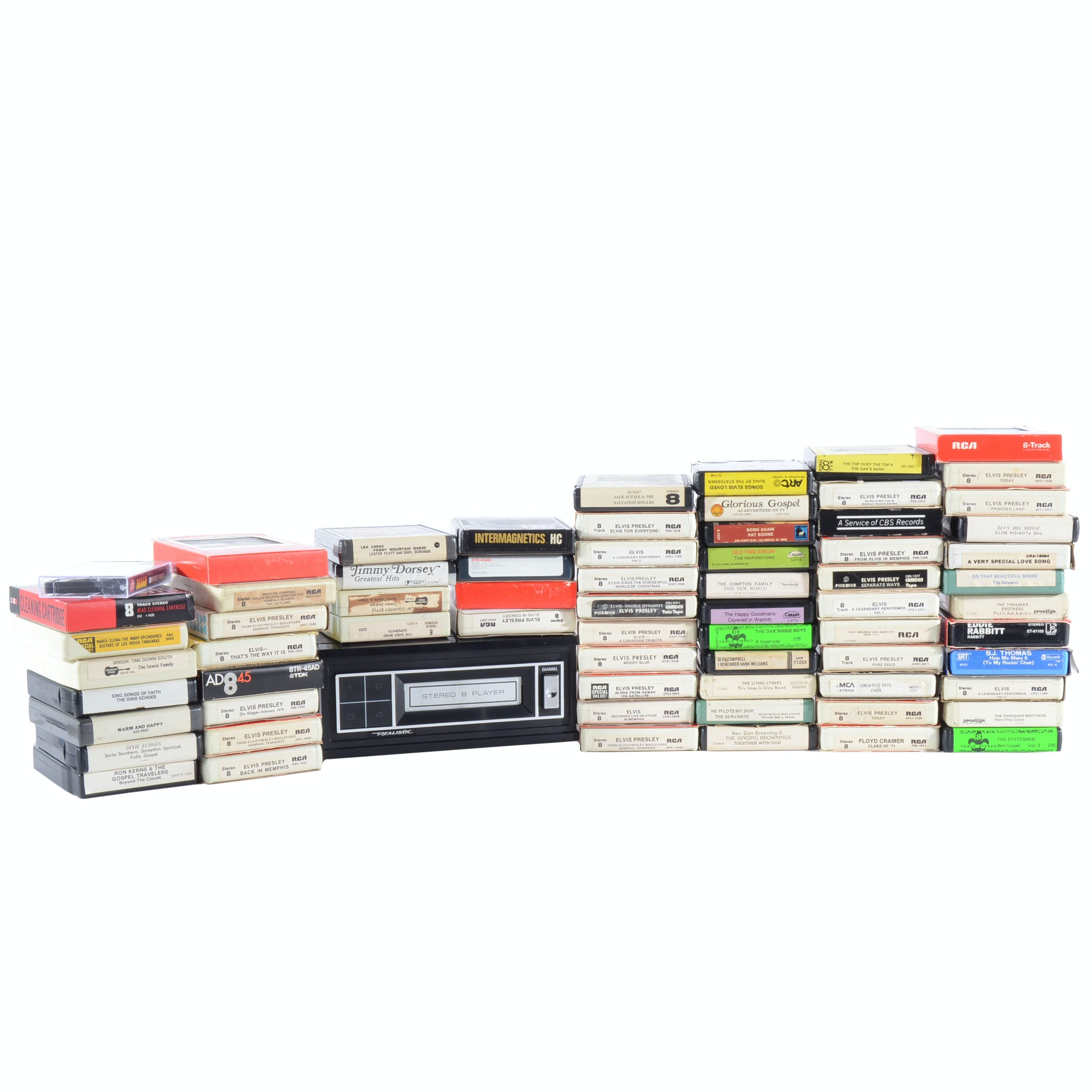 Vintage 8-Track Player and Collection of Tapes