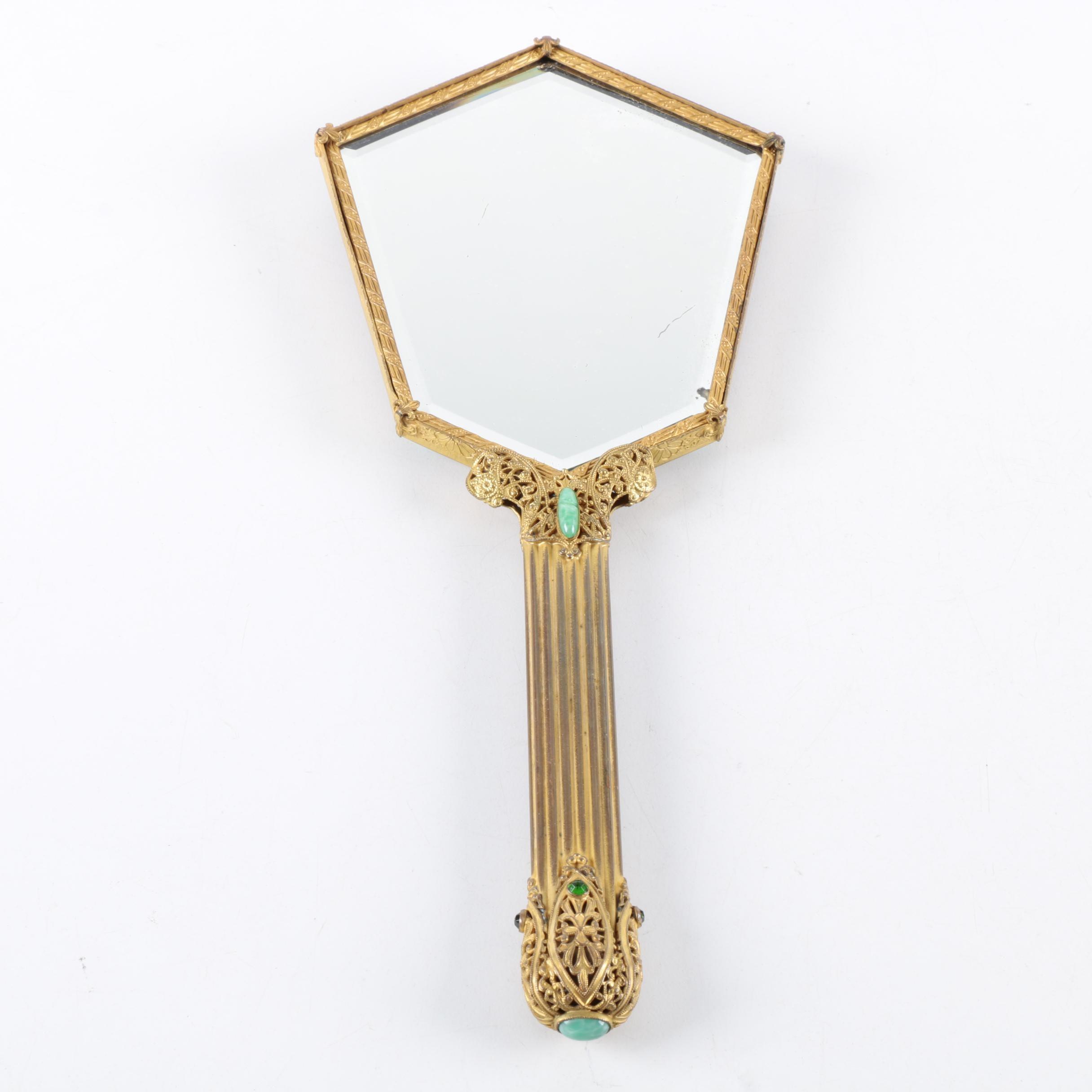 Vintage Rhinestone Encrusted Hand Held Mirror