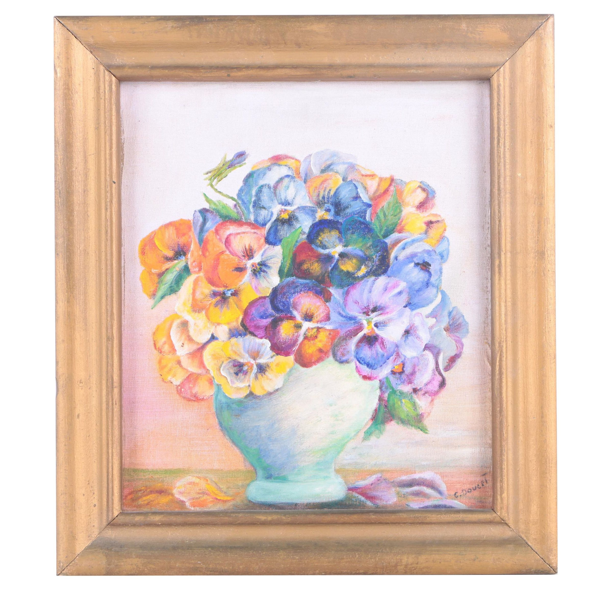 C. Doucet Signed Oil Painting on Canvas of Floral Still Life