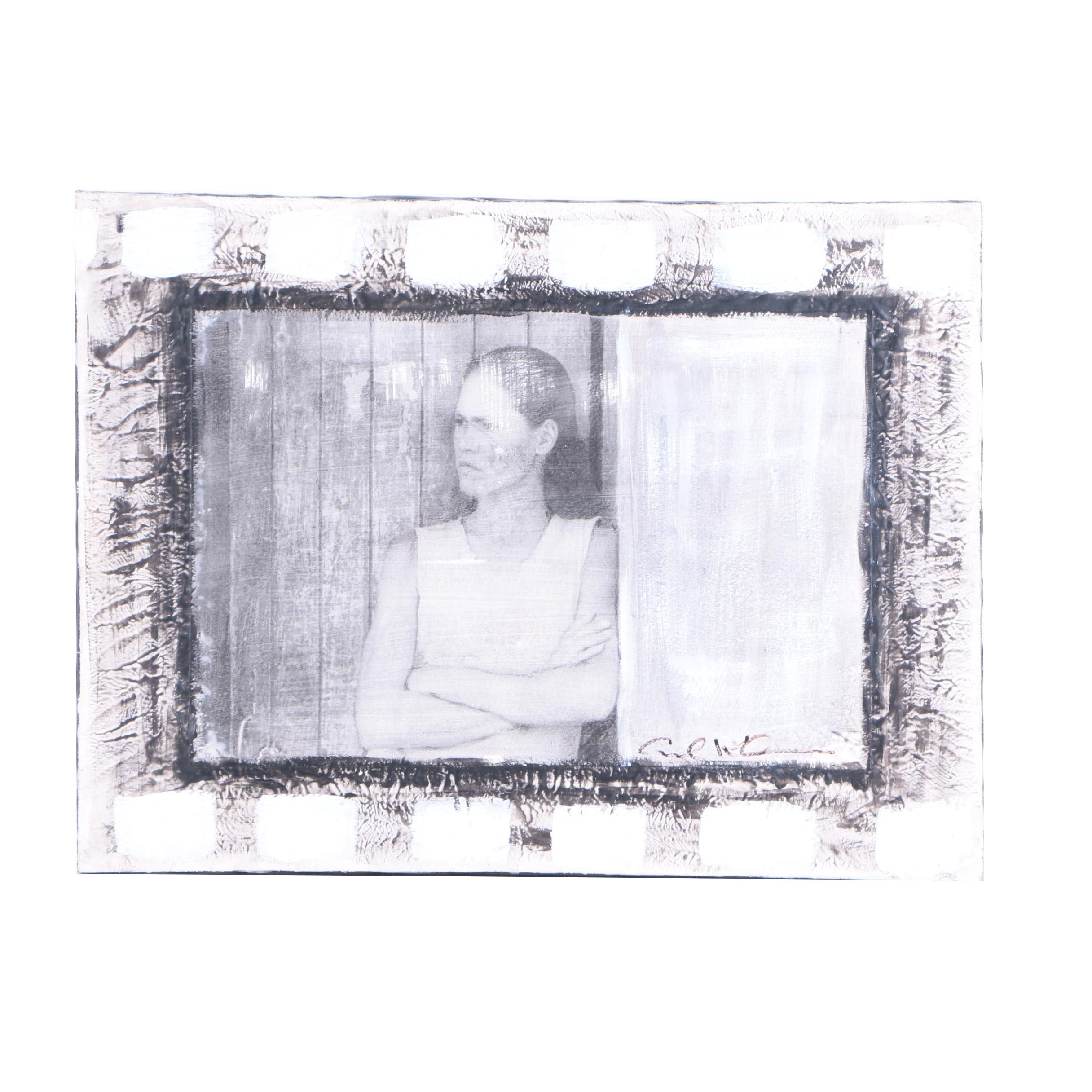 Mixed Media Painting Over Photo Transfer Portrait of Woman with Folded Arms