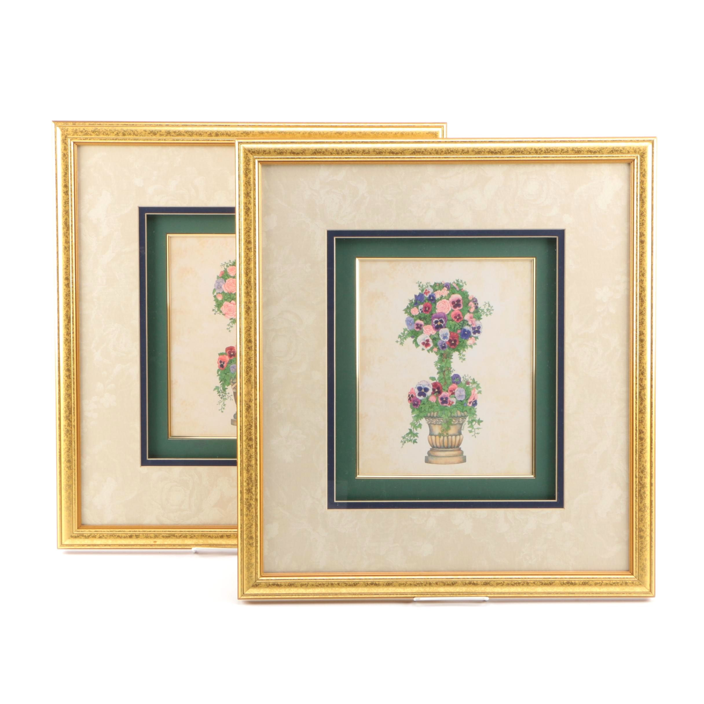 "Decorative Offset Lithograph Prints on Paper ""Rose Topiary"" and ""Pansy Topiary"""