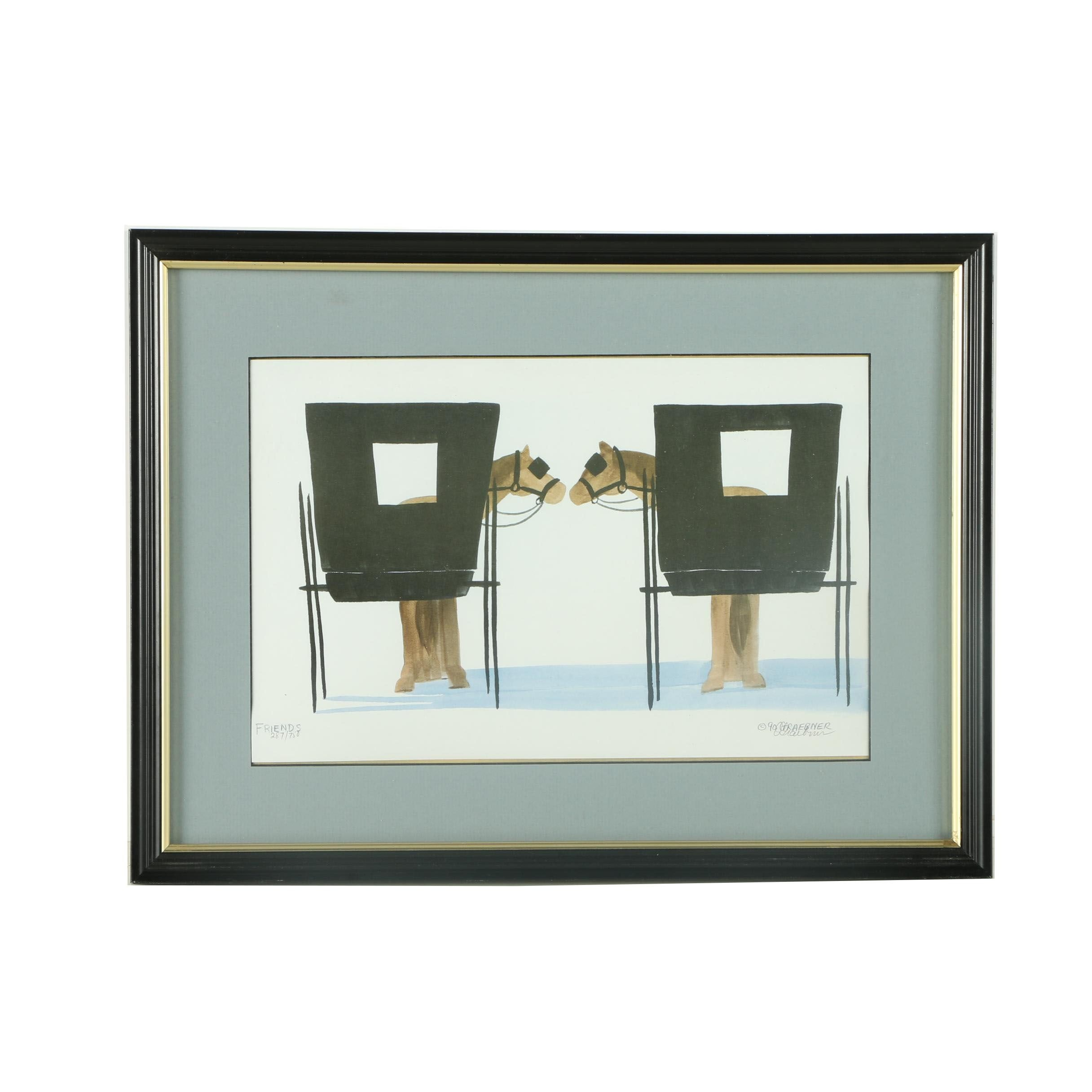 """Graebner Limited Edition Offset Lithograph """"Friends"""""""