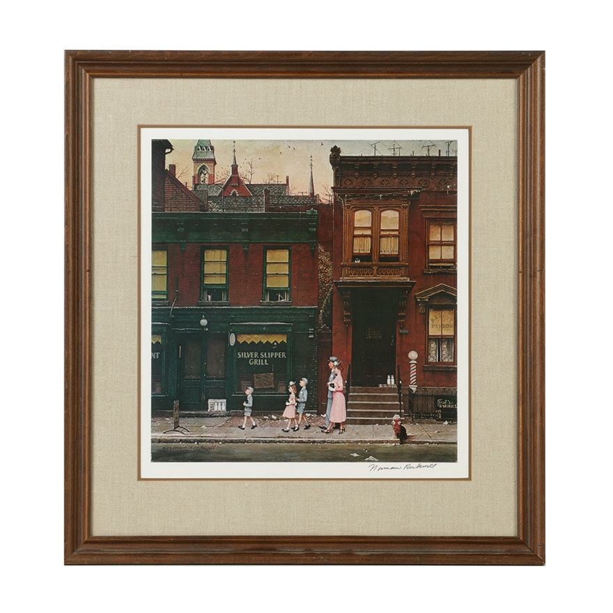 """Offset Lithograph After Norman Rockwell's """"Walking To"""