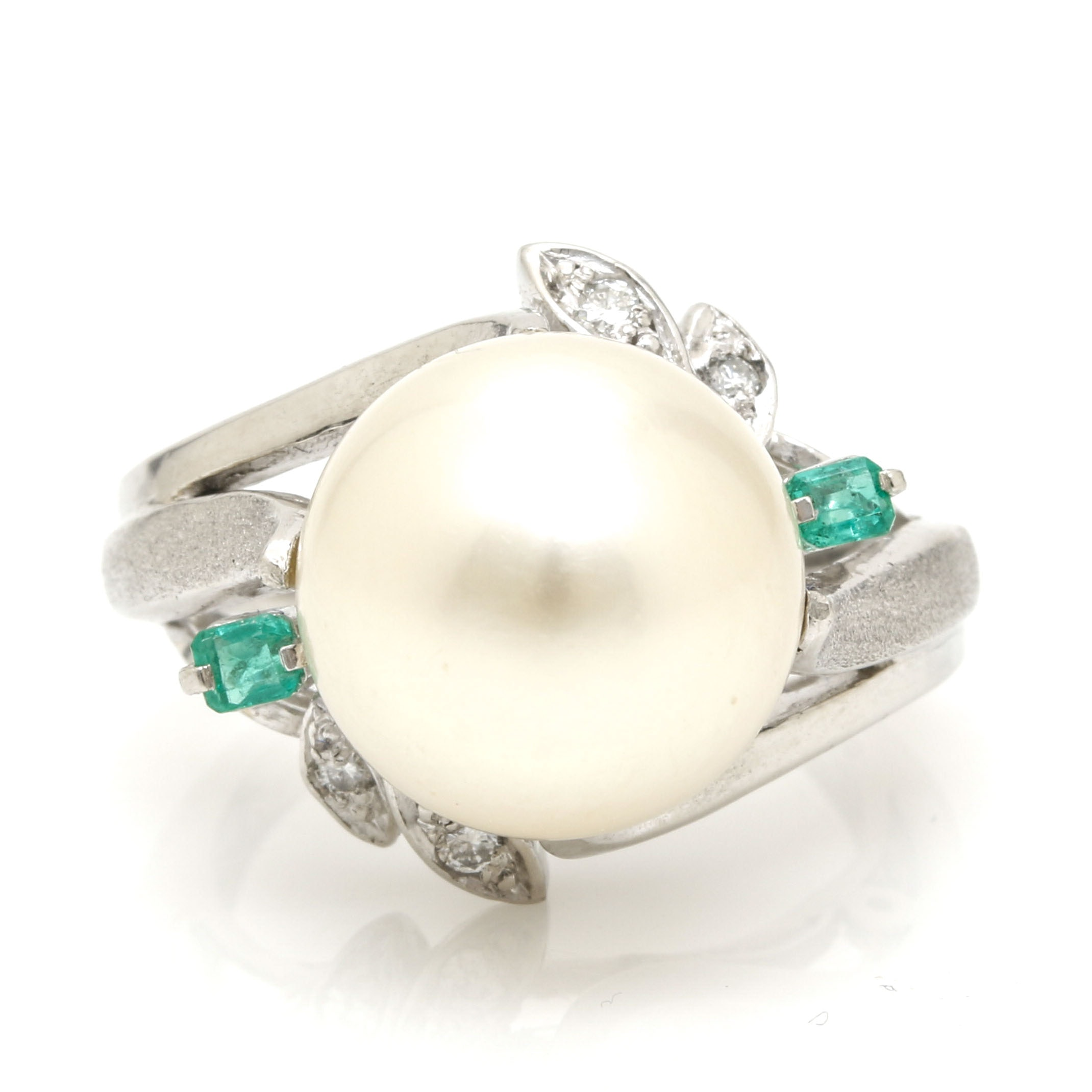 Platinum South Sea Pearl, Emerald, and Diamond Foliate Ring