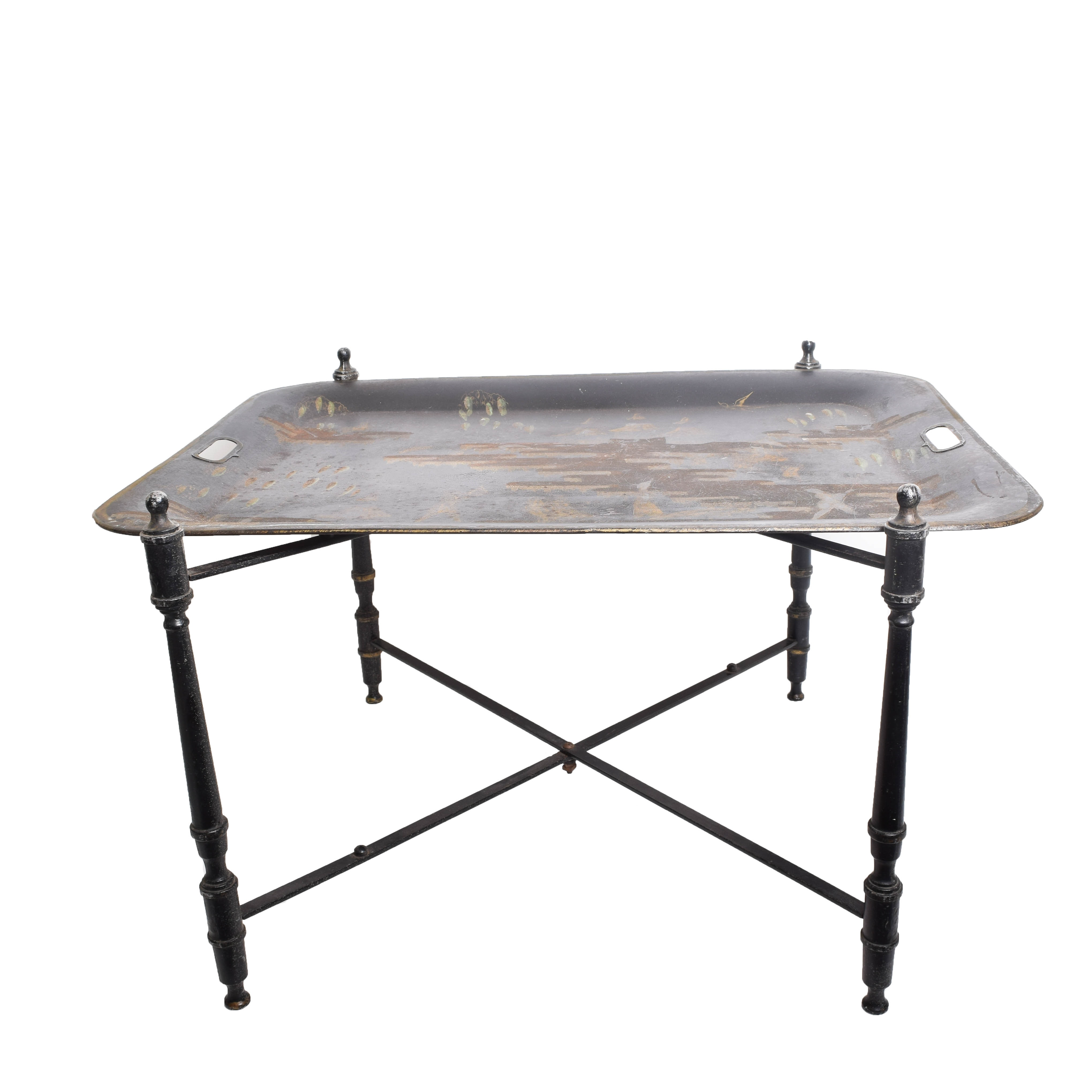 Vintage Chinoiserie Tole Tray Table