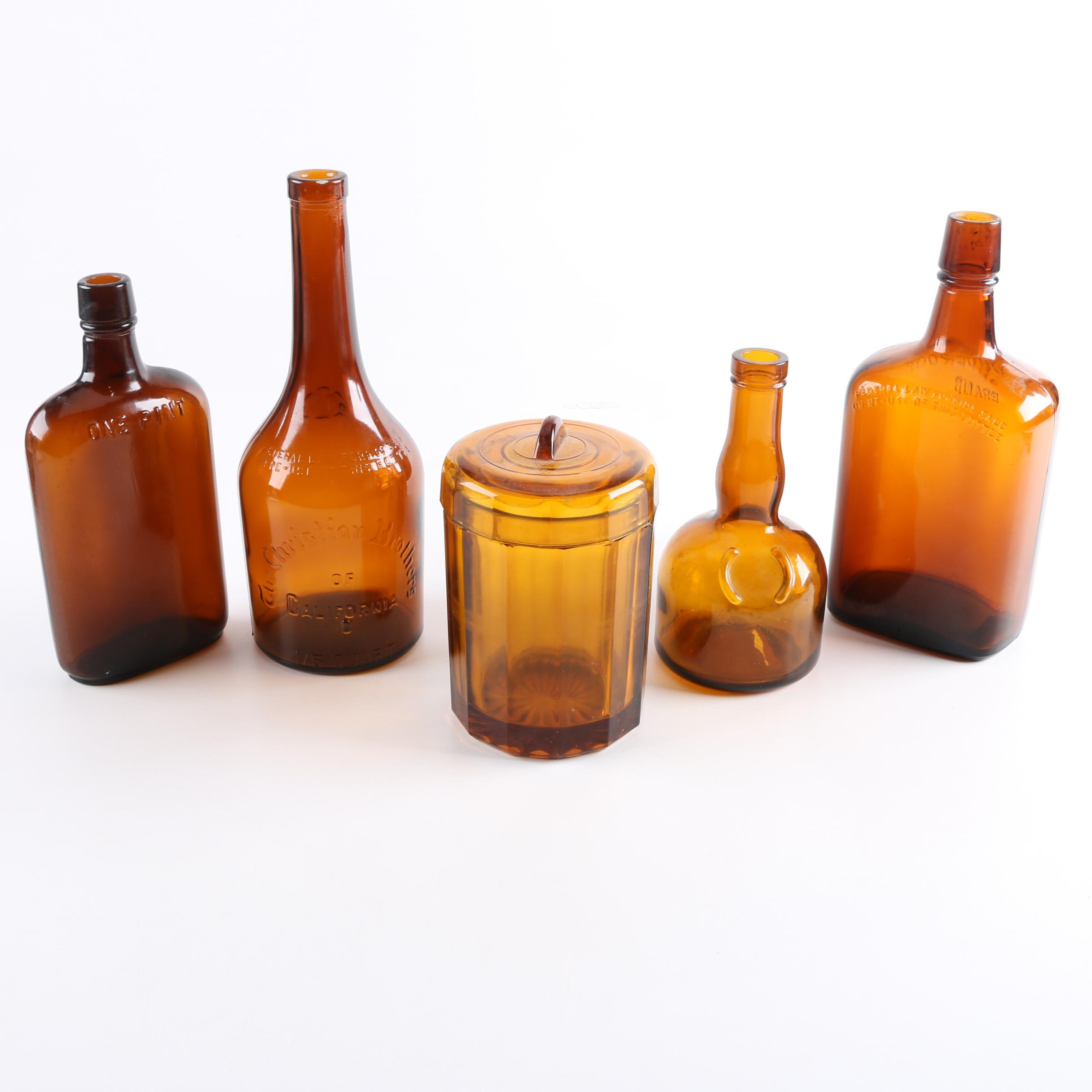 Mid-Century Brown Glass Bottles with Lidded Jar
