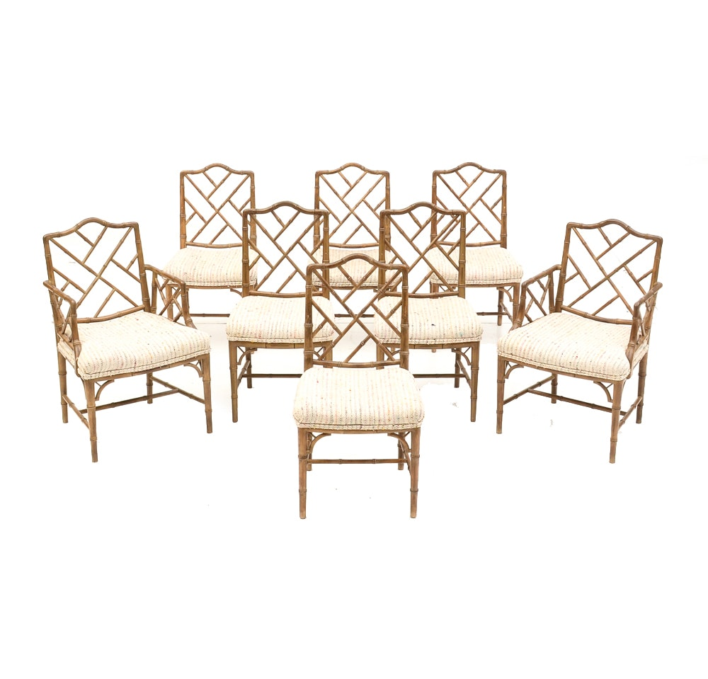 Hand-Carved Spanish Bamboo-Style Dining Room Chairs